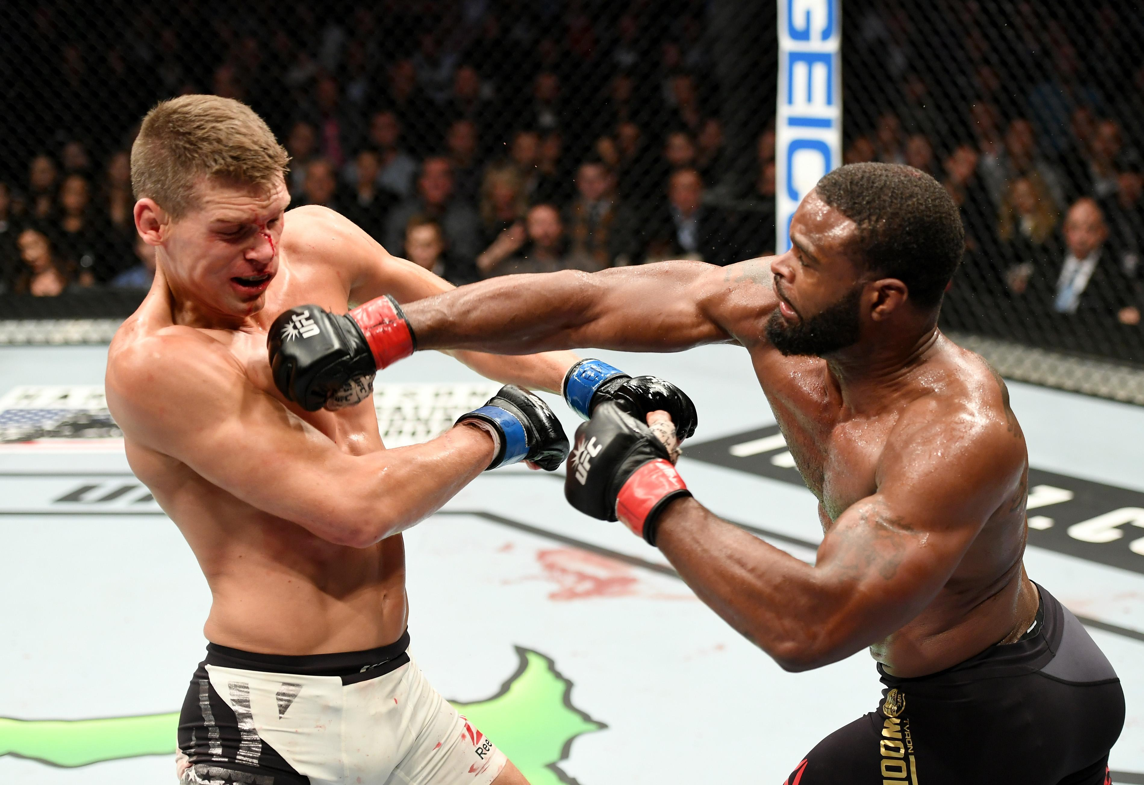 Thompson was unsuccessful in two world title bouts against welterweight champion Tyron Woodley