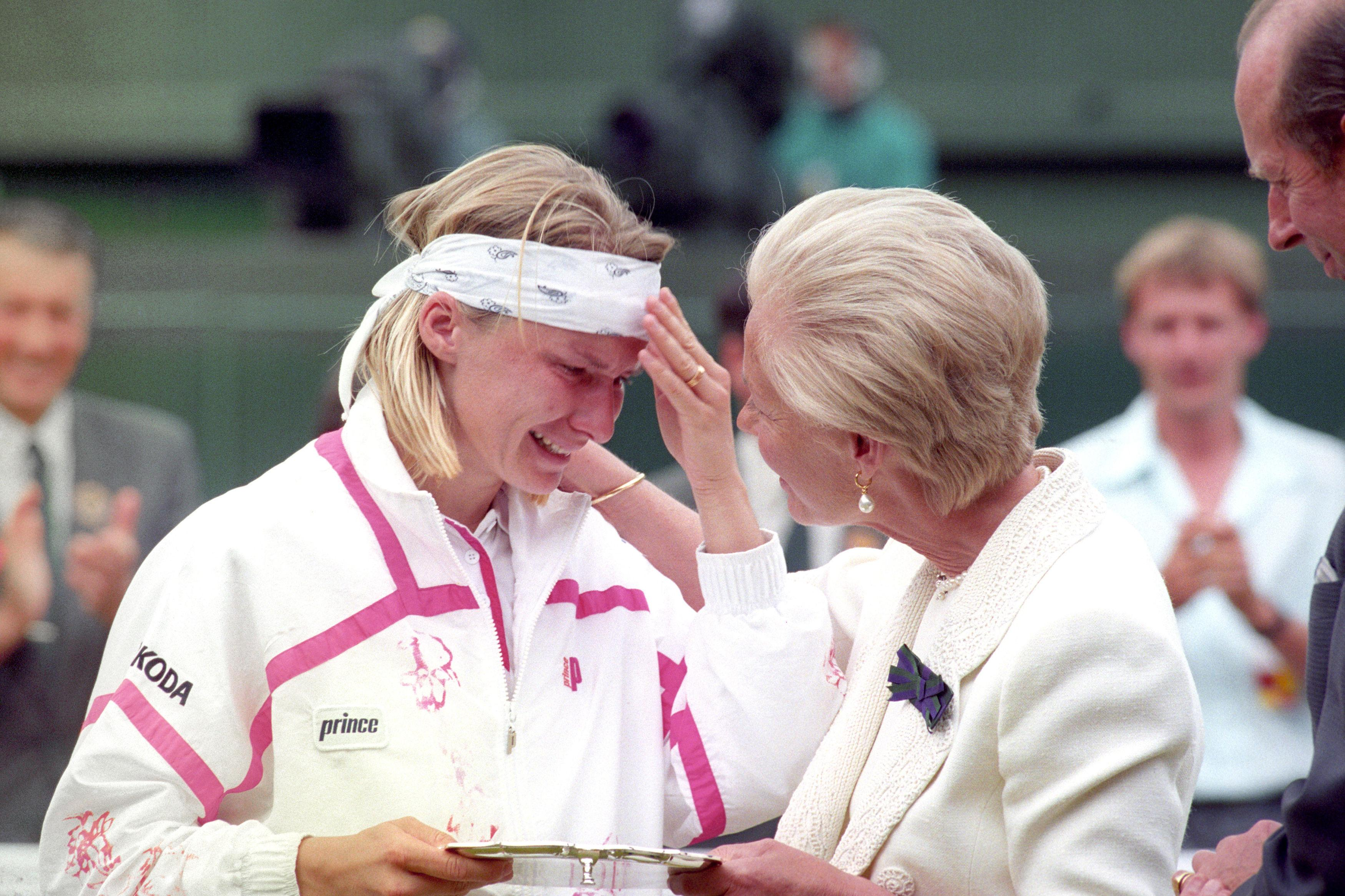 Jana Novotna sobbed on the Duchess of Kent's shoulder after the 1993 Wimbledon final
