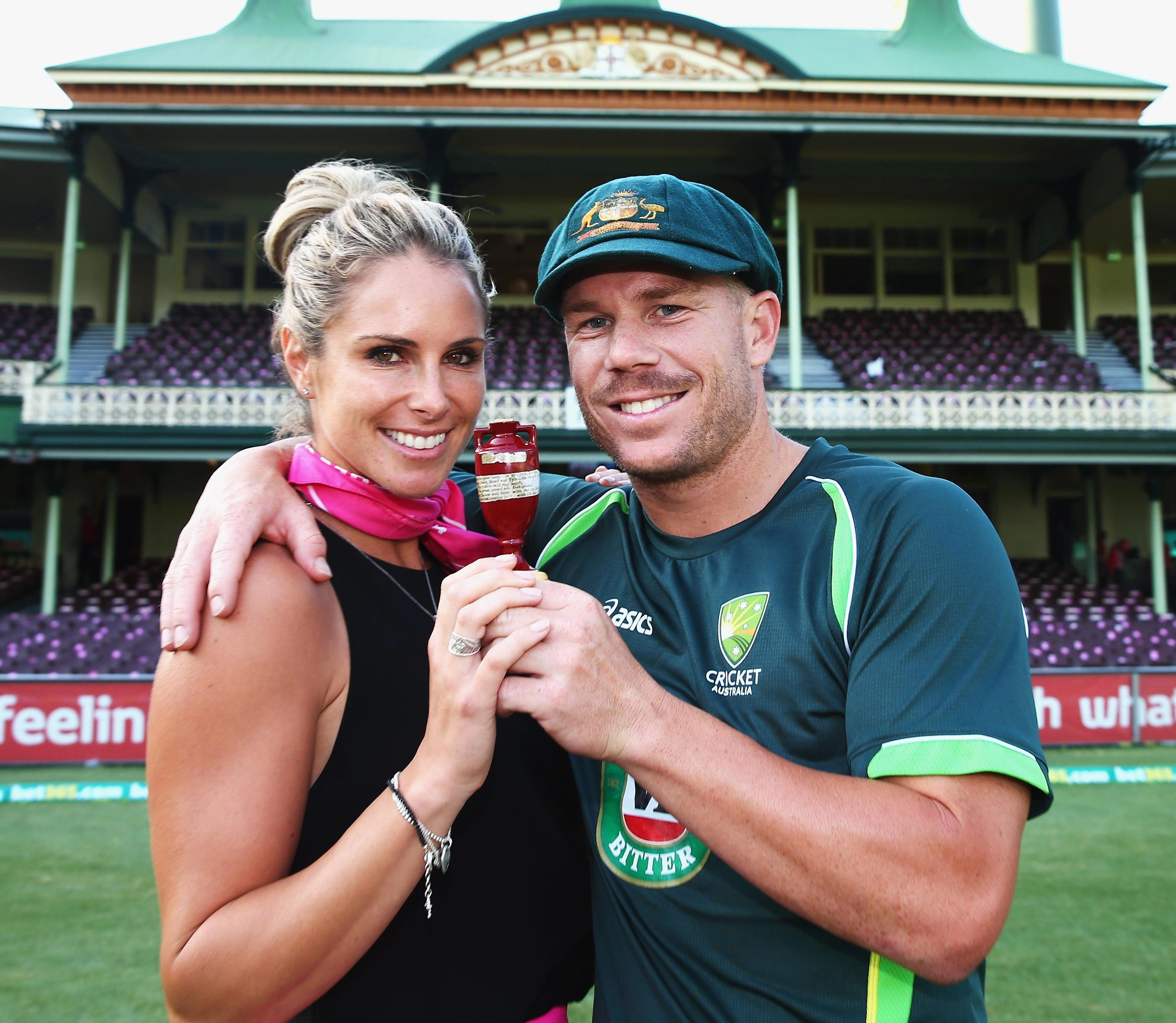 David and Candice Warner with the Ashes urn
