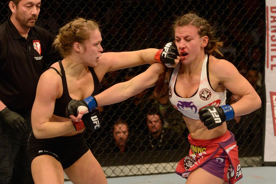 Ronda Rousey defeated Miesha Tate in two women's UFC matches