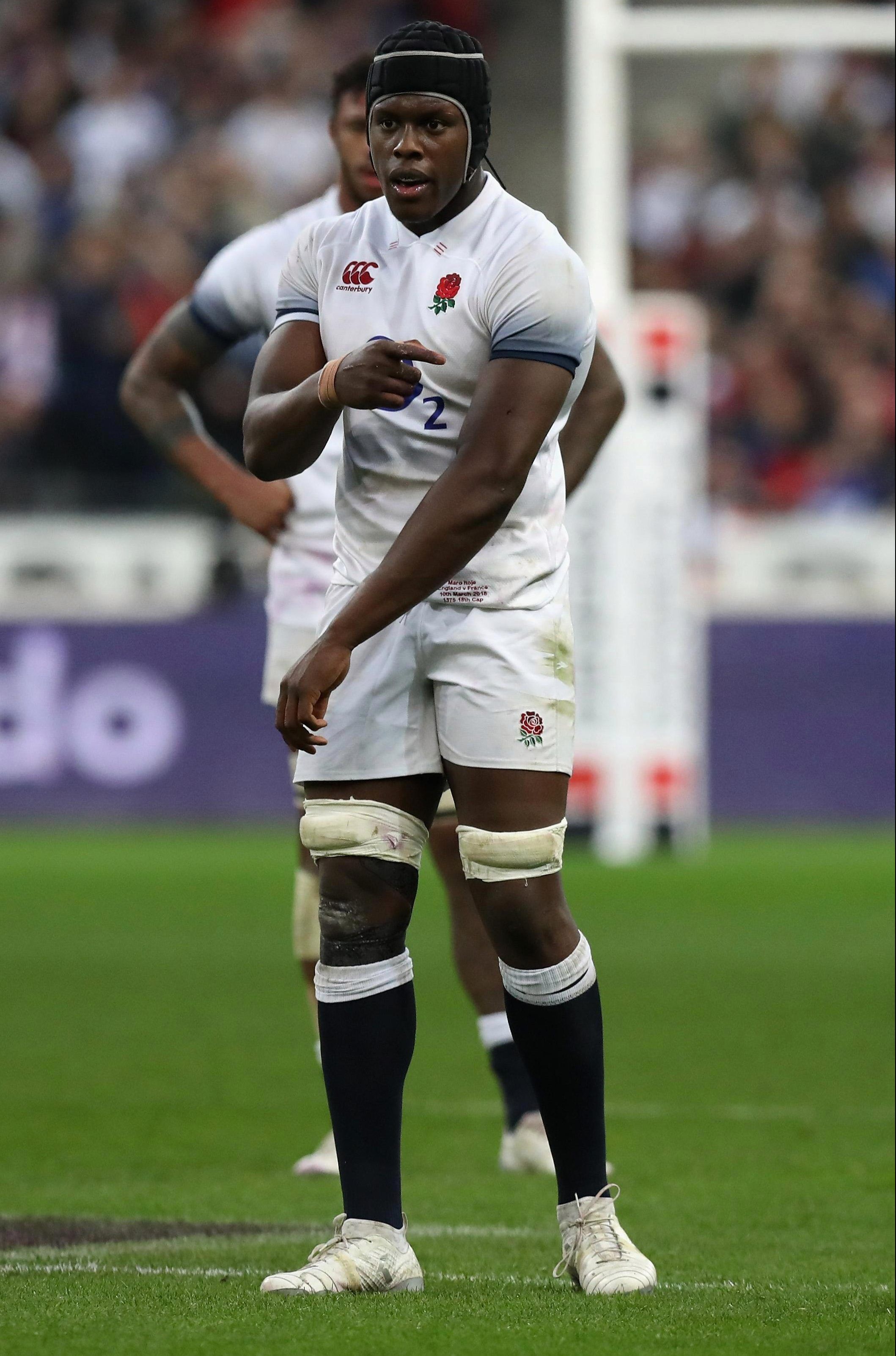 Maro Itoje points to a mark on his arm as he claims he was bitten during a maul