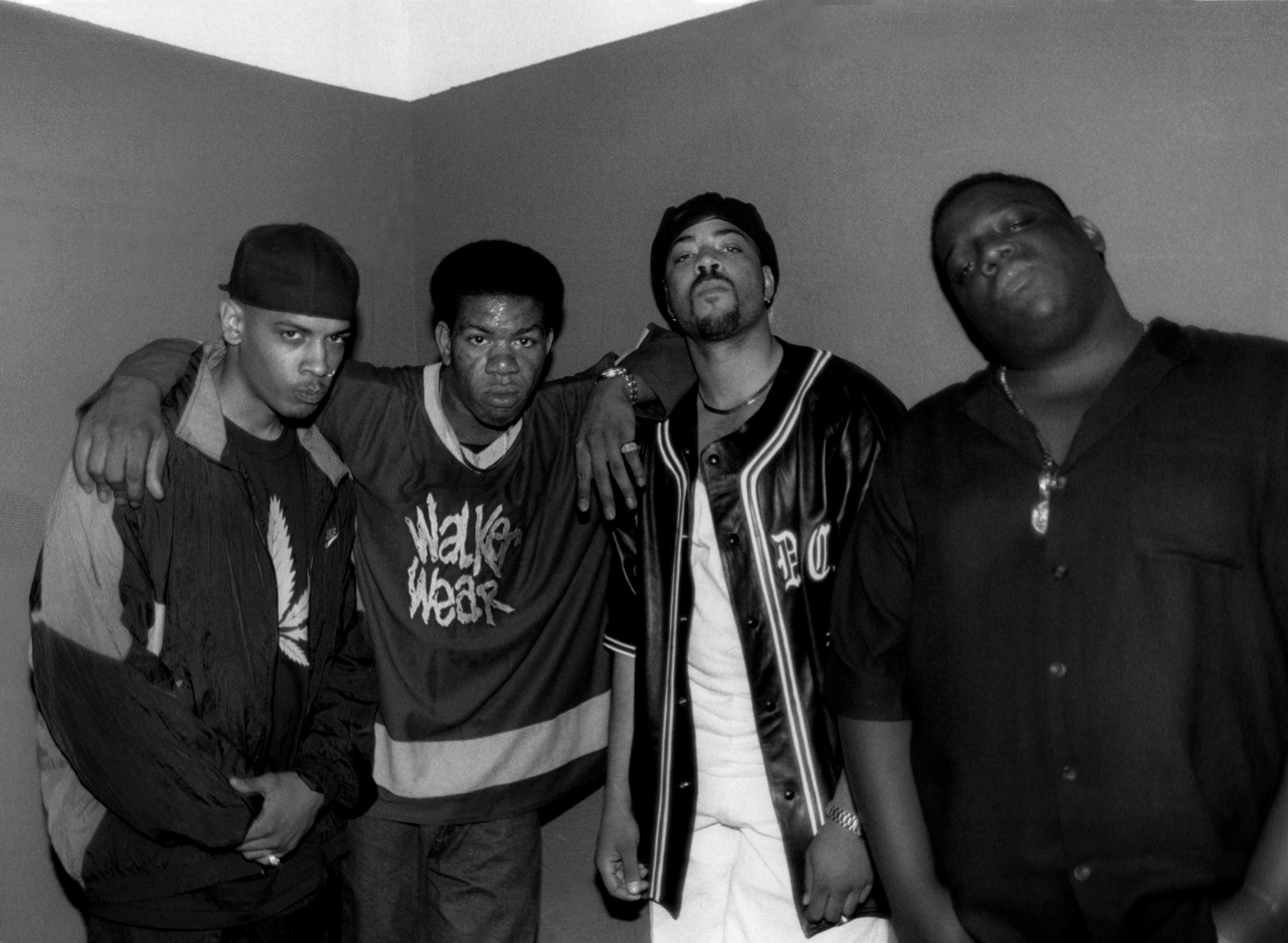 Rappers Saafir, Craig Mack, The D.O.C. and late rapper Notorious B.I.G., pose for photos backstage after their performances in 1994