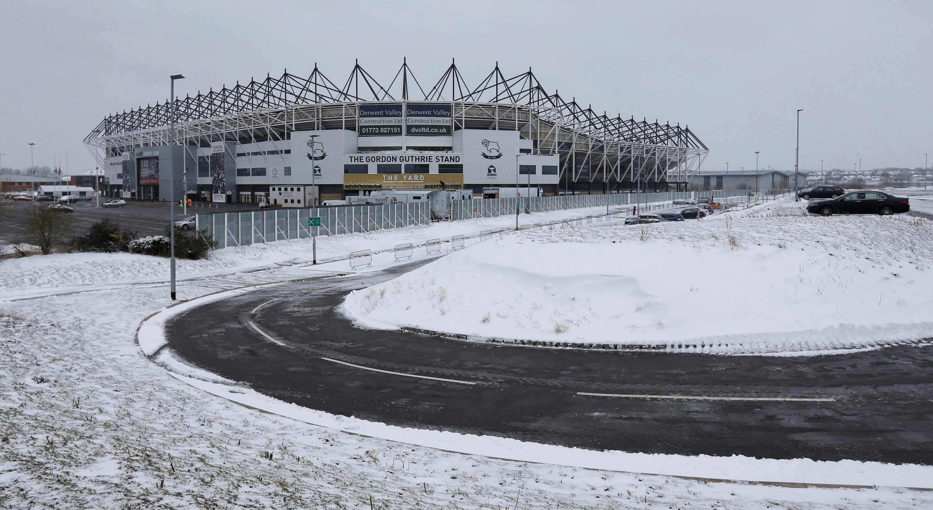 This was the wintry scene outside the stadium