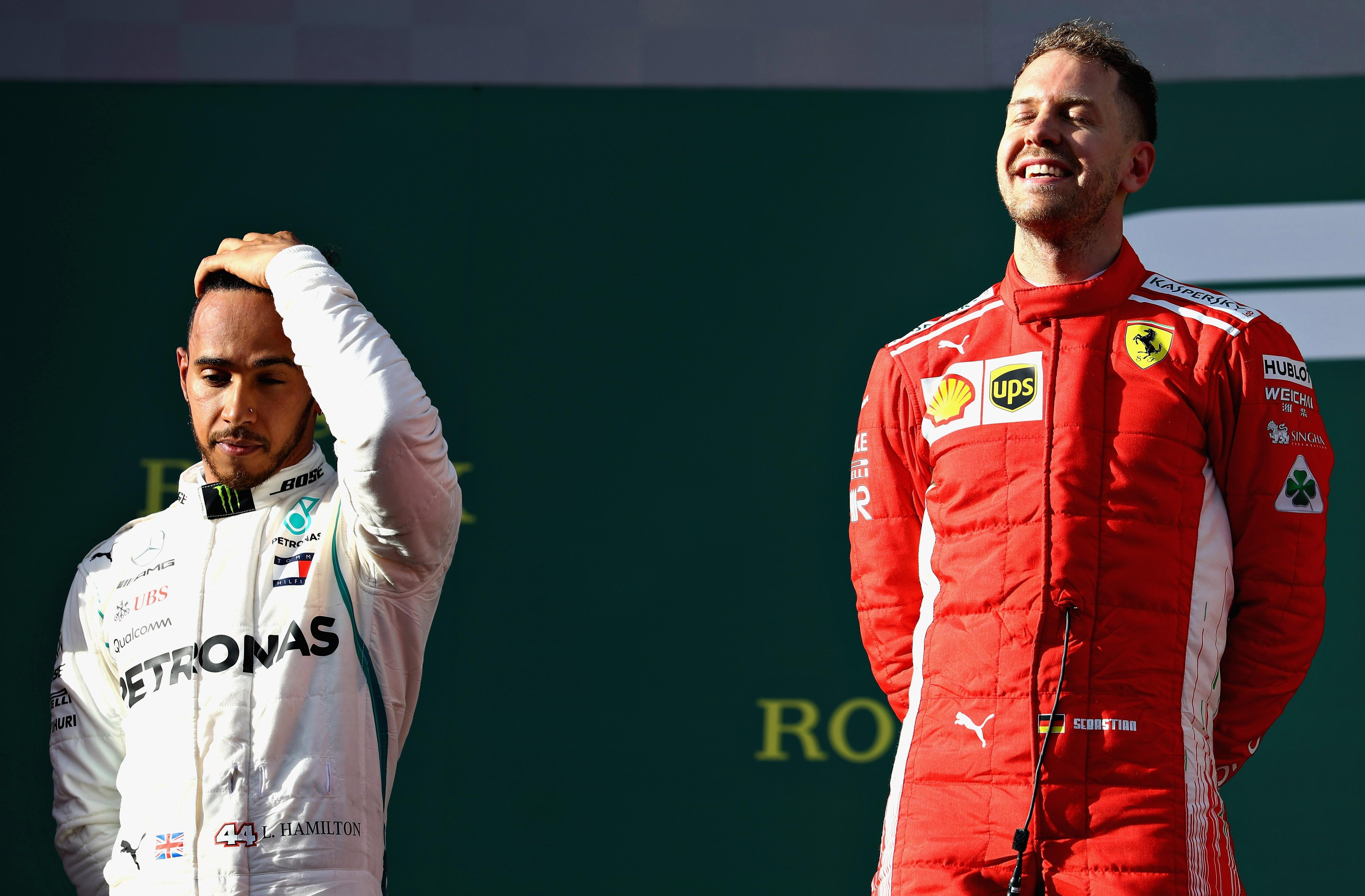 Lewis Hamilton is clearly disappointed at finishing behind rival Sebastian Vettel