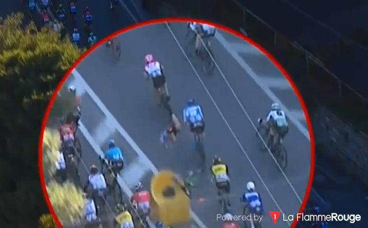 Cavendish landed hard on his back in shocking scenes