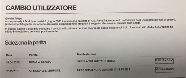 Roma accidentally offered supporters the chance to buy tickets to face Liverpool on June 2