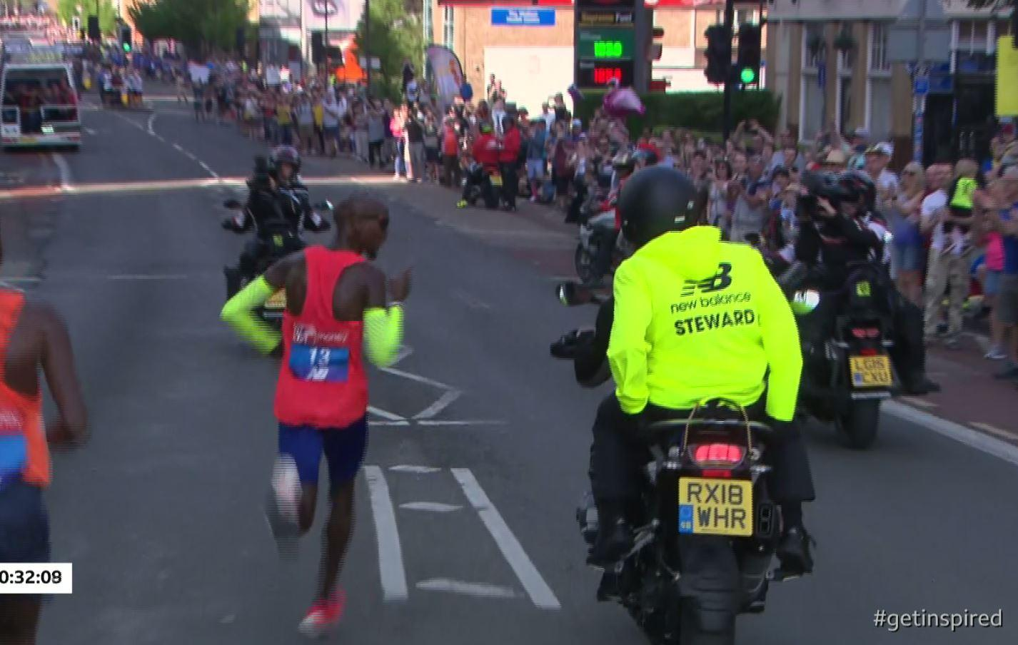 Mo Farah was not happy but staff on motorbikes could not help
