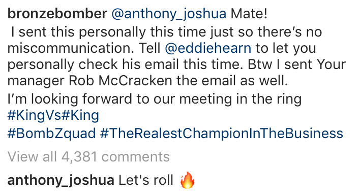 Anthony Joshua replied to Wilder's social media post, simply writing: 'Lets Roll!'