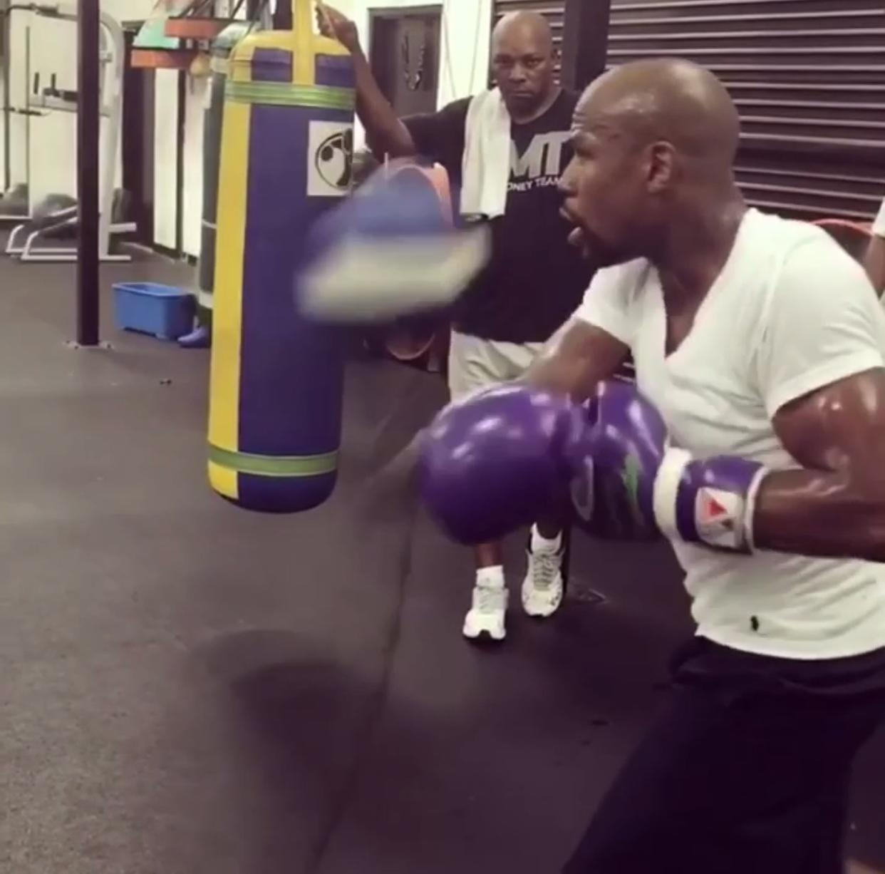Floyd Mayweather shared a video of himself preparing for his MMA debut