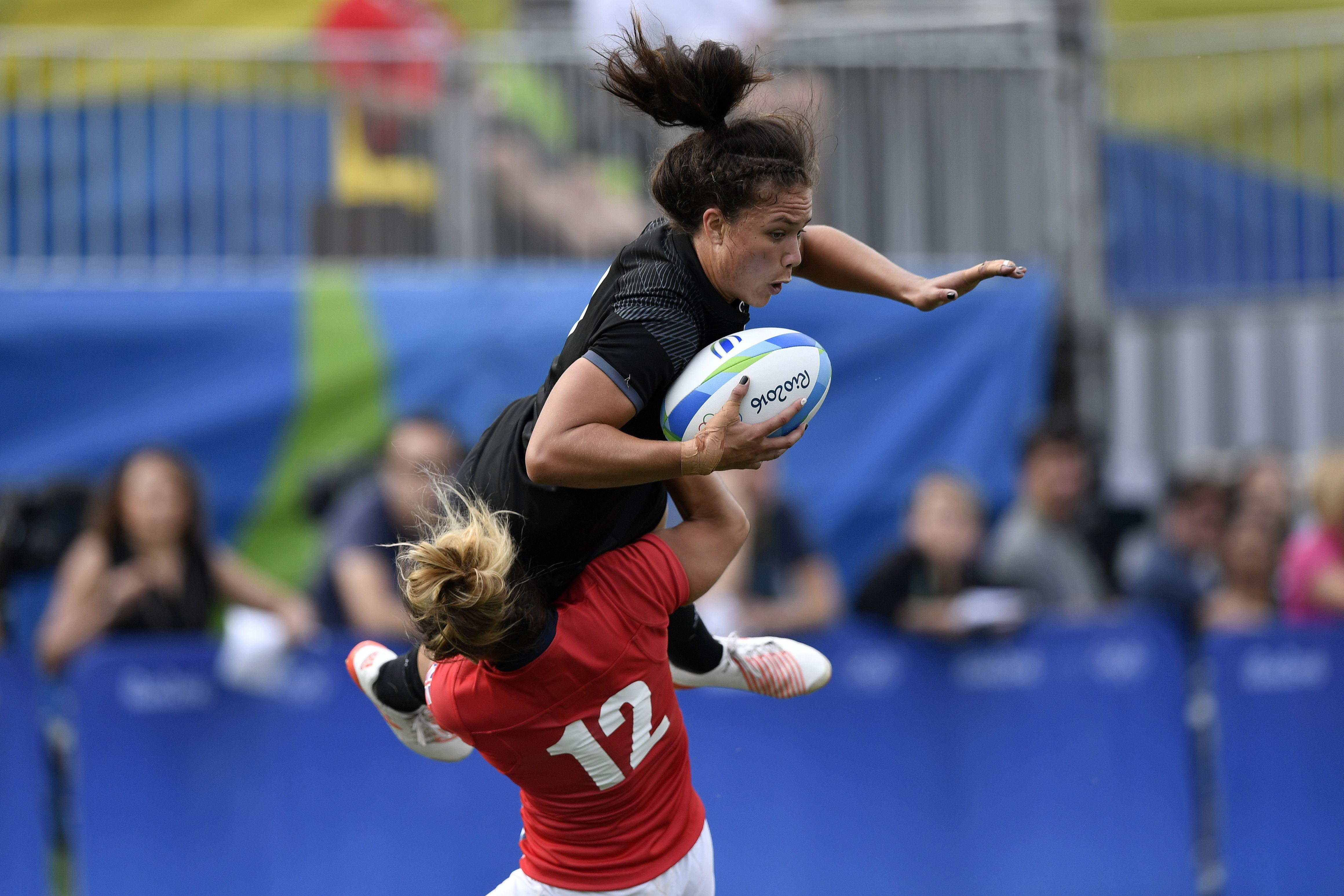 Ruby Tui in action for New Zealand in the semi-finals of the Olympic Games sevens rugby in 2016