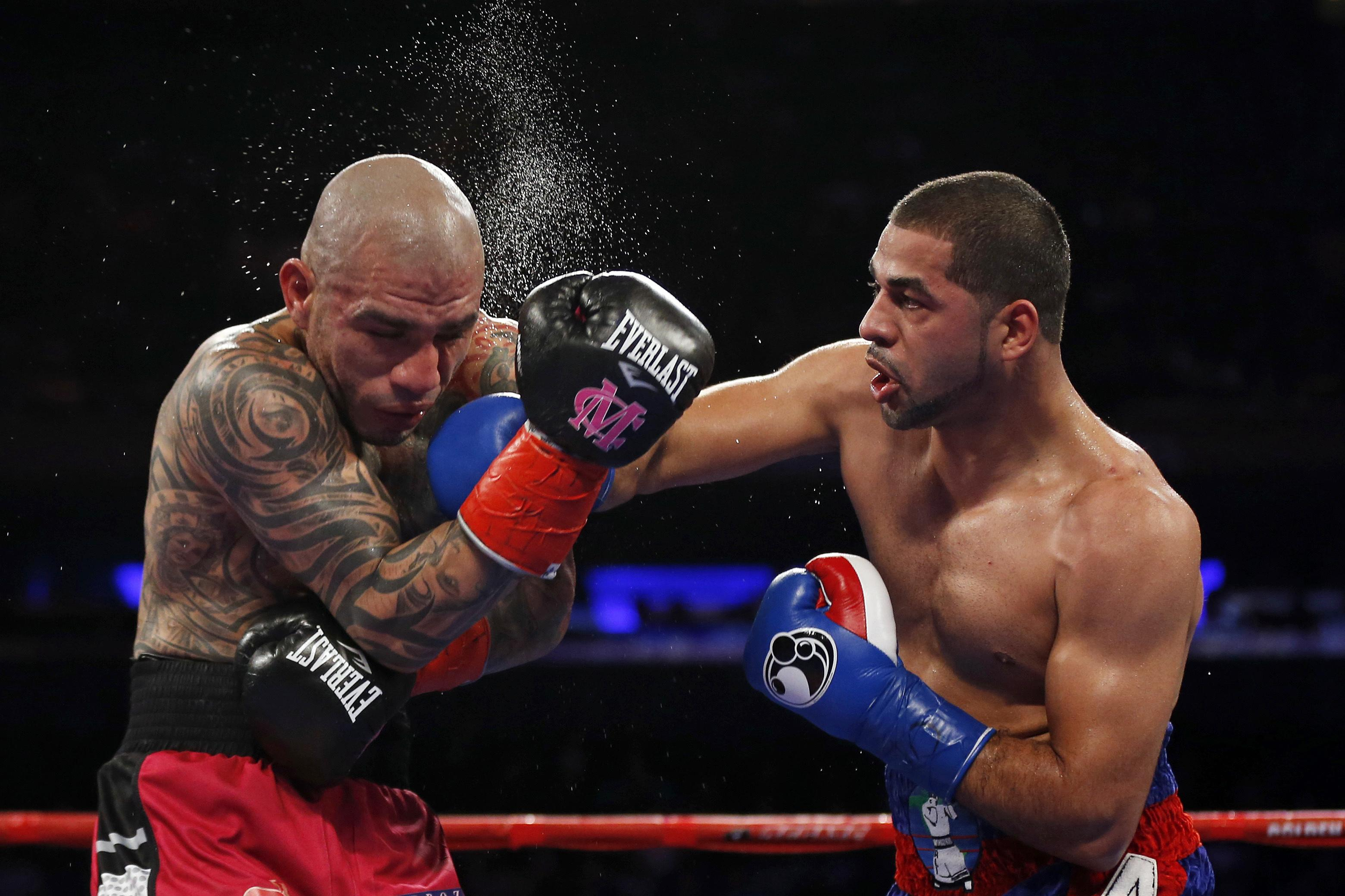 Sadam Ali, right, beat Miguel Cotto in December to claim the WBO belt