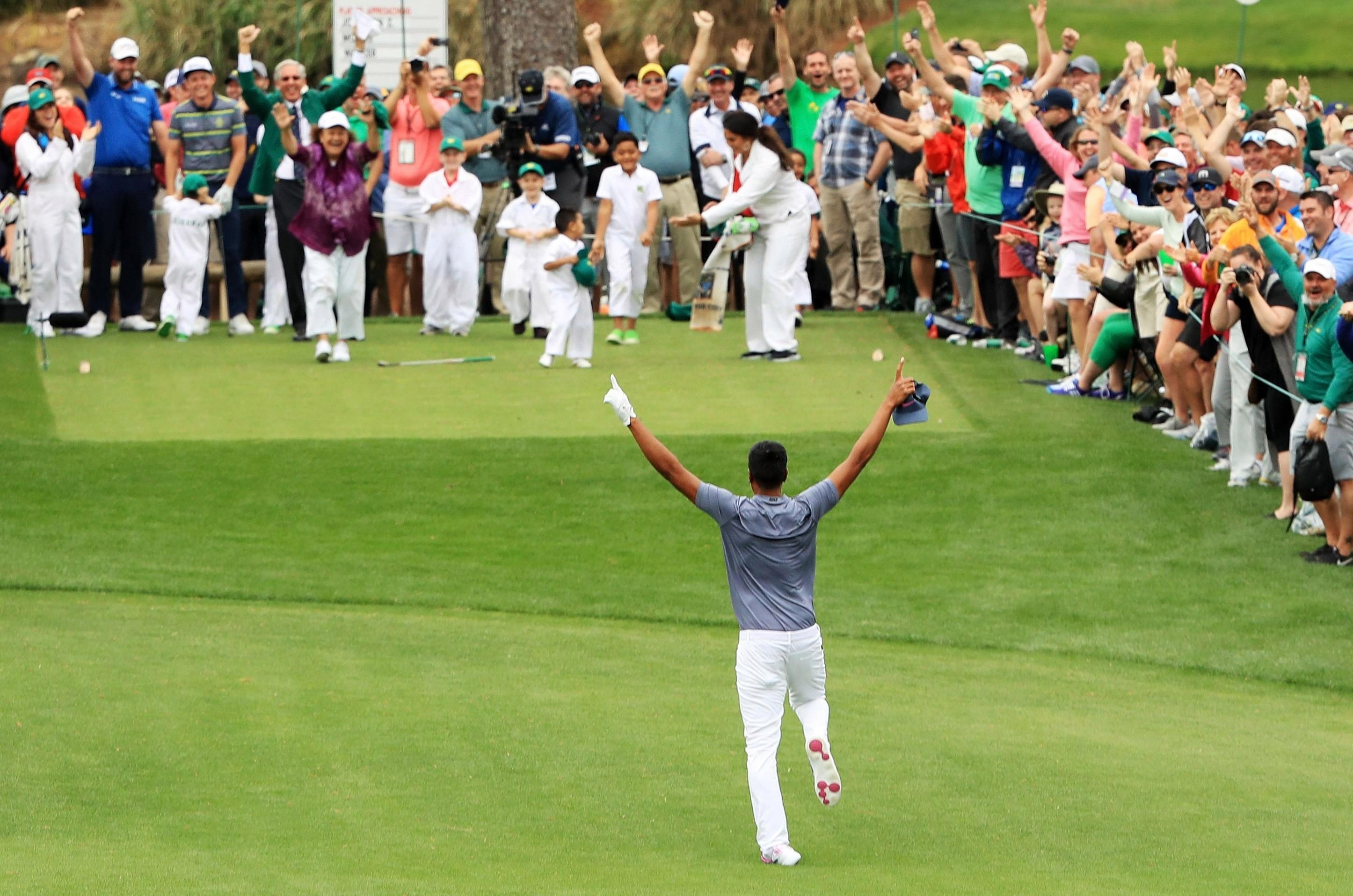 Tony Finau tripped and dislocated ankle after celebrating hole in one