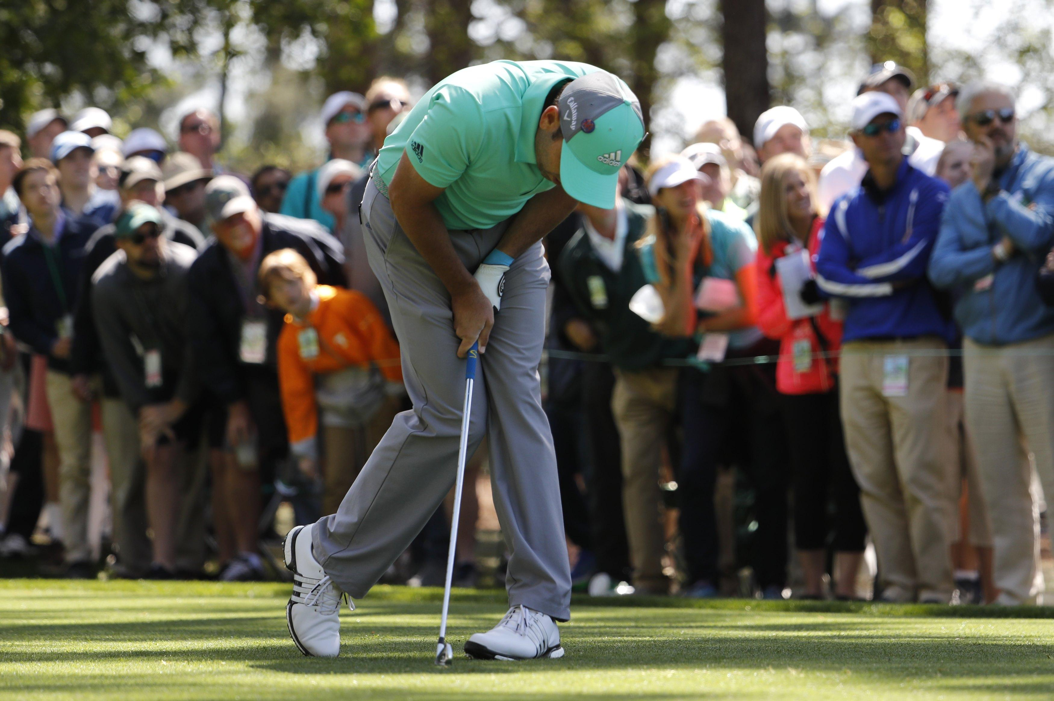 Garcia was left reeling as he found the water five times on the par five 15th hole