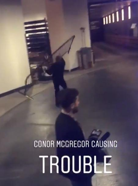 This is the moment Conor McGregor picked up a gate and tried to throw it at a bus