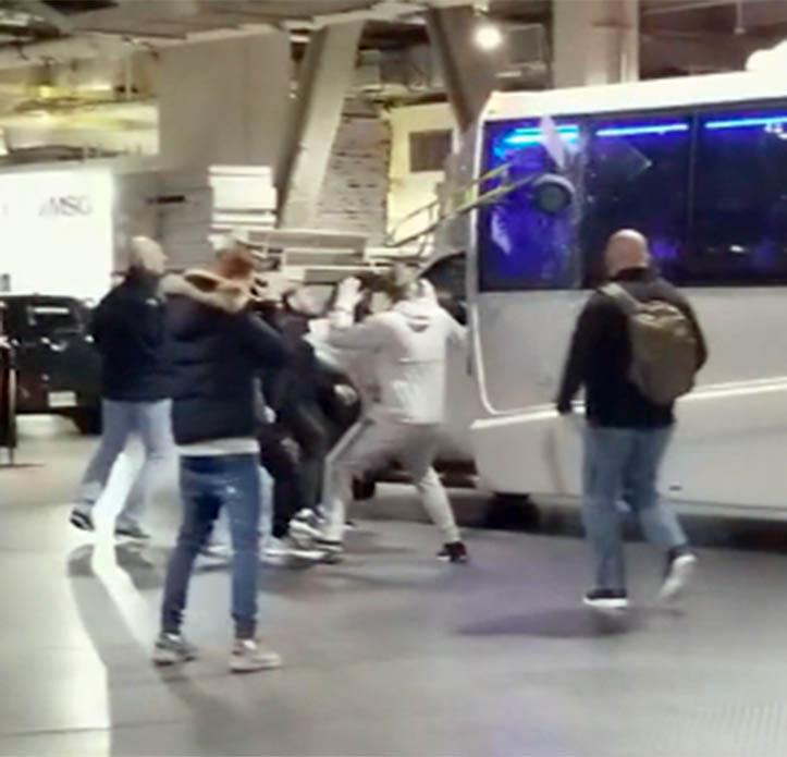 This was the moment Conor McGregor launches a trolley at the window of the bus