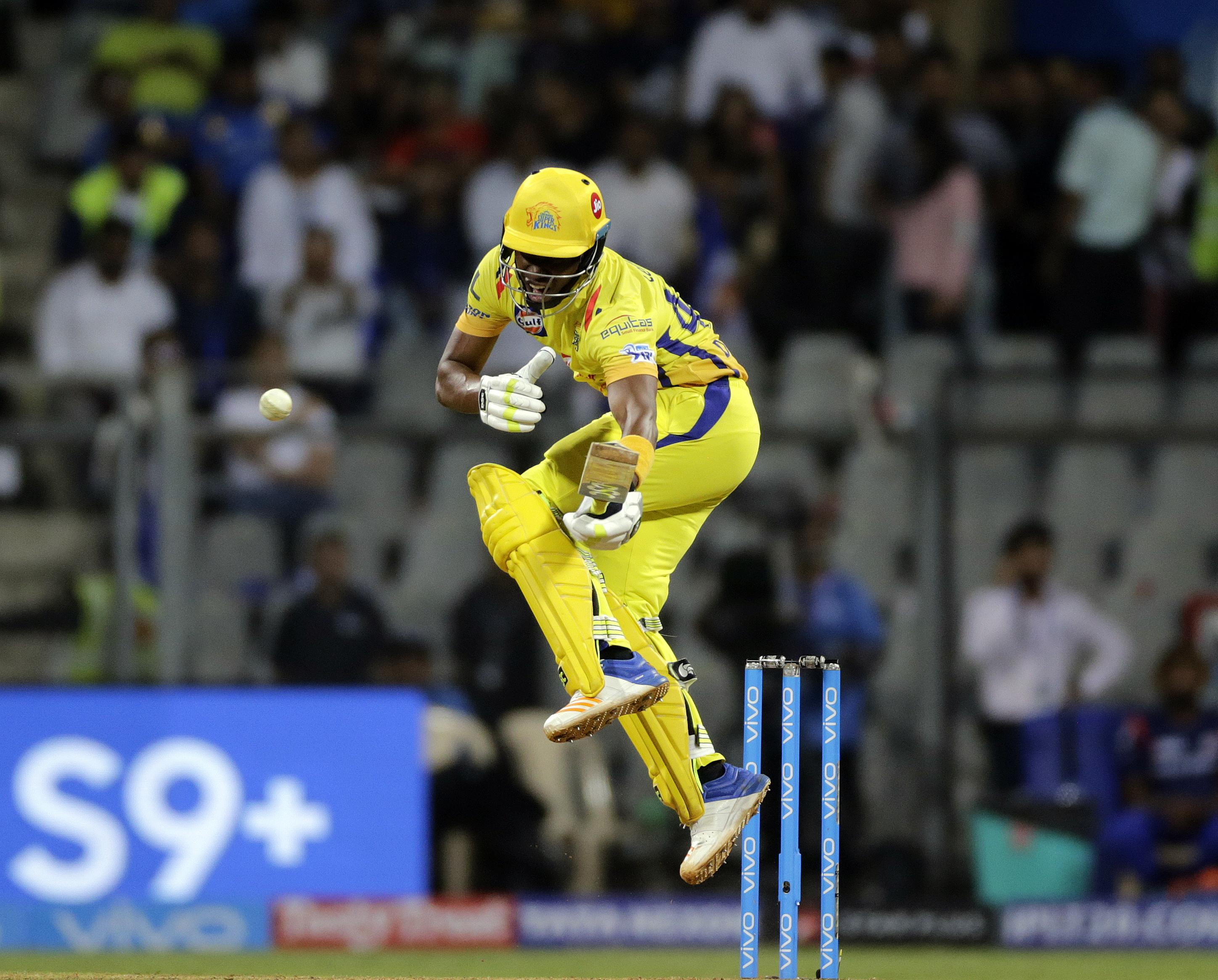 Dwayne Bravo in action for Chennai in their win over Mumbai on Saturday