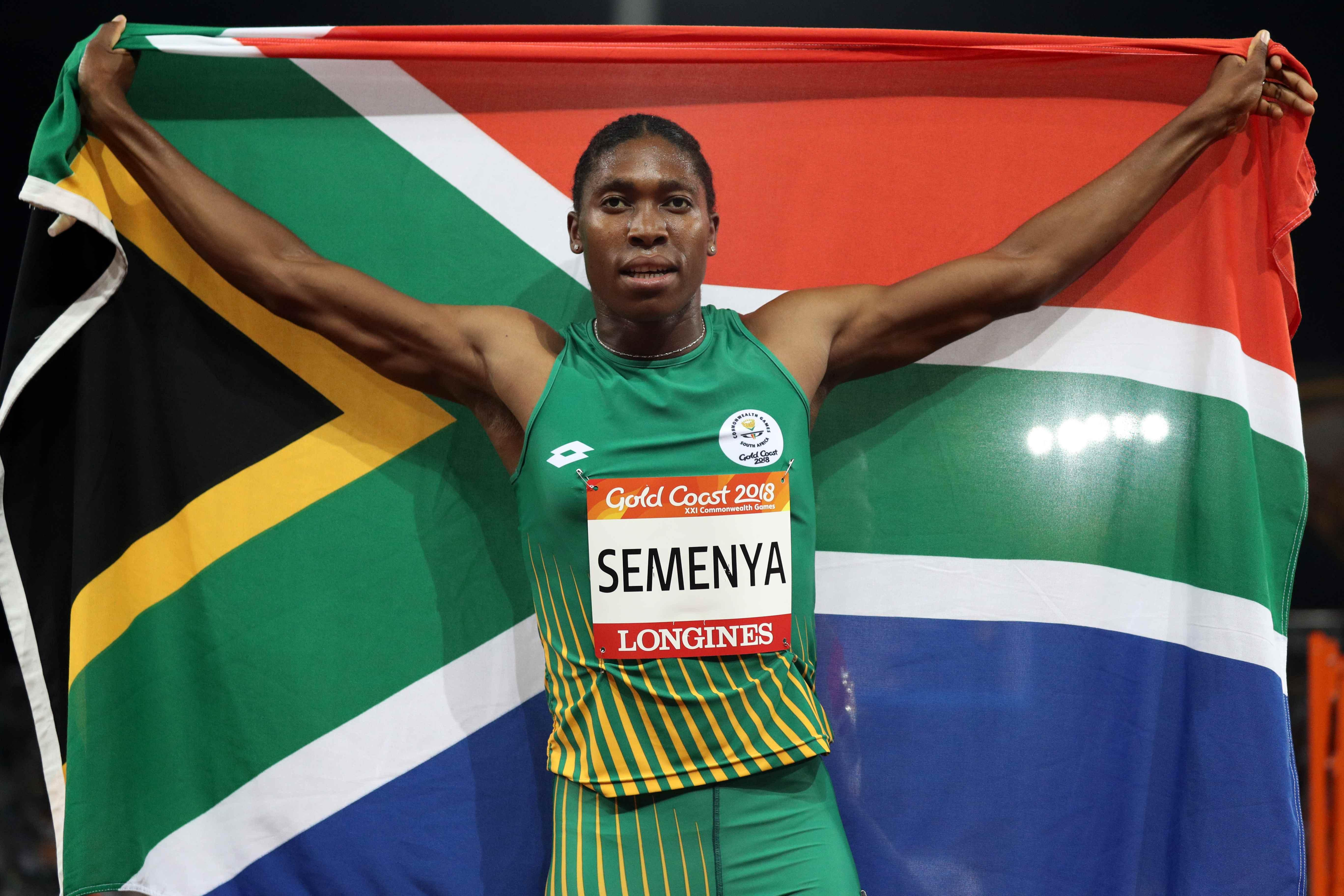 Semenya, 27, celebrates after claiming her second gold medal in Australia