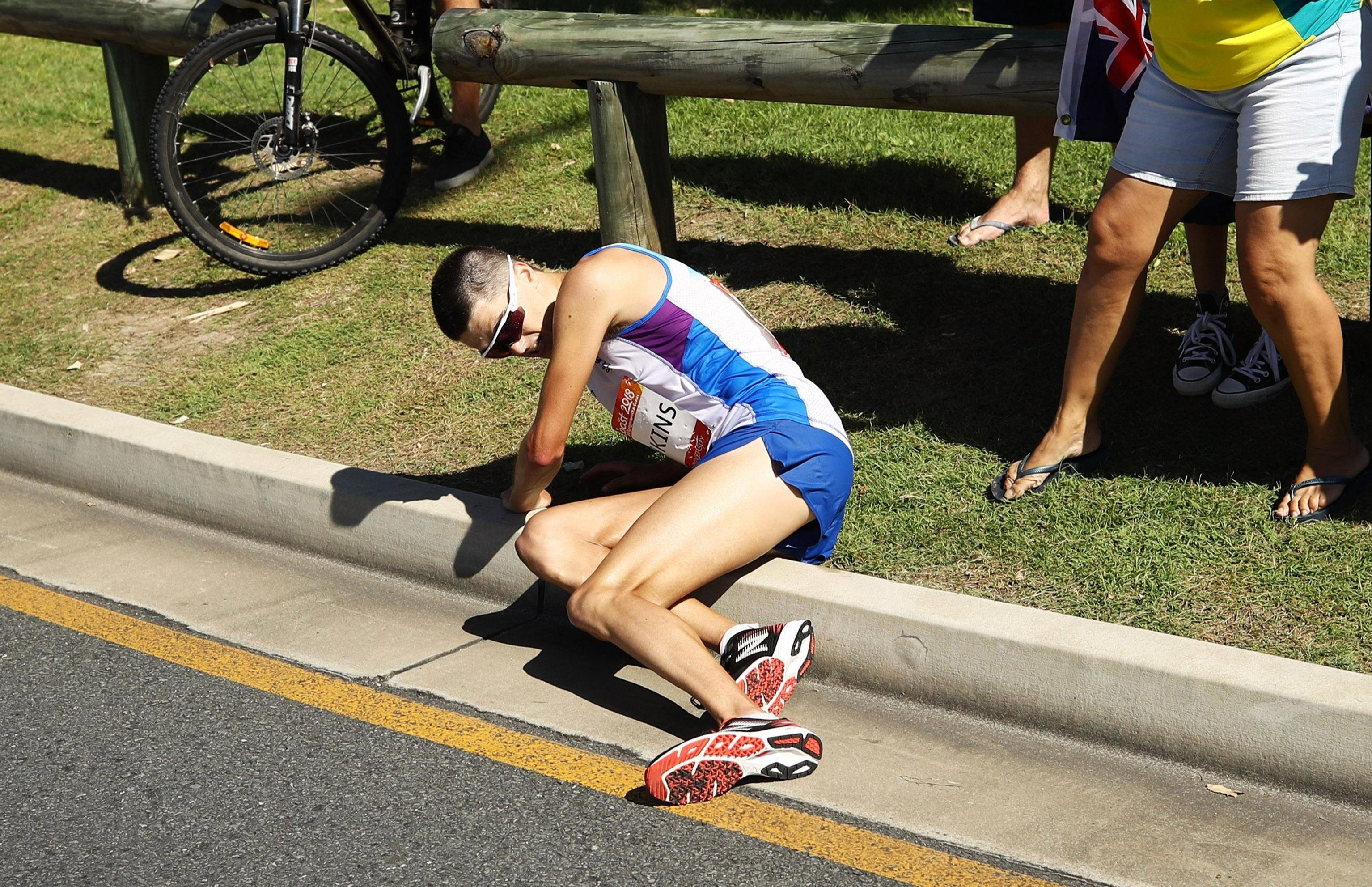 Callum Hawkins fell over a kerb at first while leading the marathon