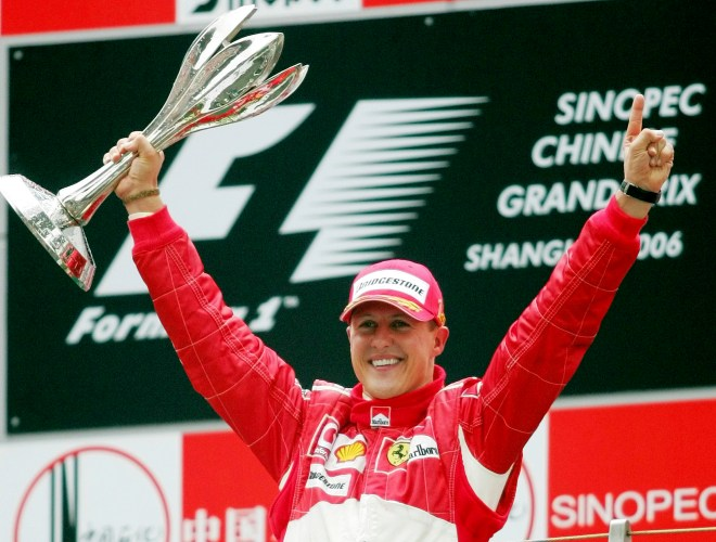 Michael Schumacher celebrating winning the F1 Chinese GP in 2006