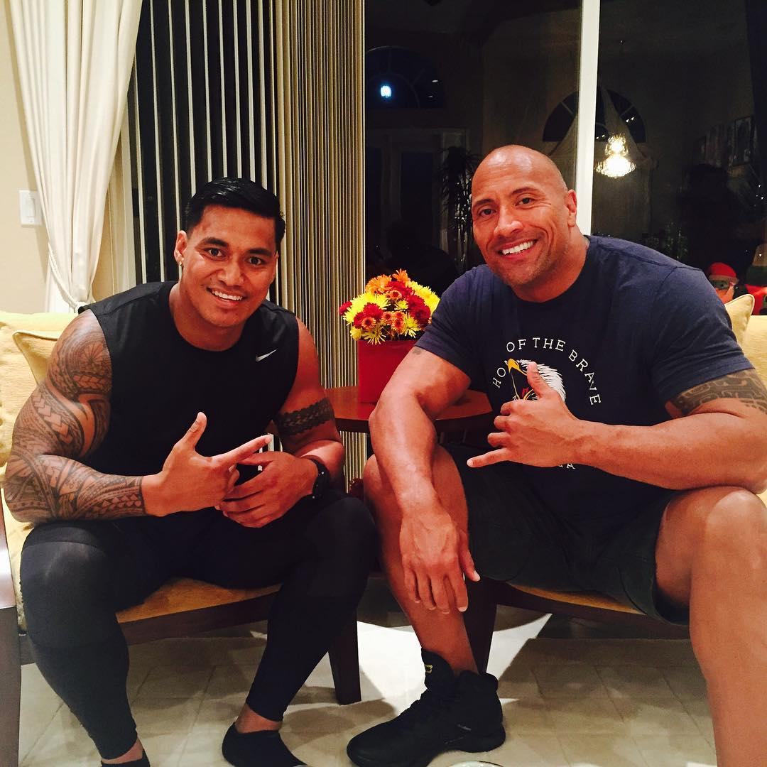 Hull KR player Junior Vaivai with cousin Dwayne 'The Rock' Johnson, who he credits for talking him out of hanging up his boots