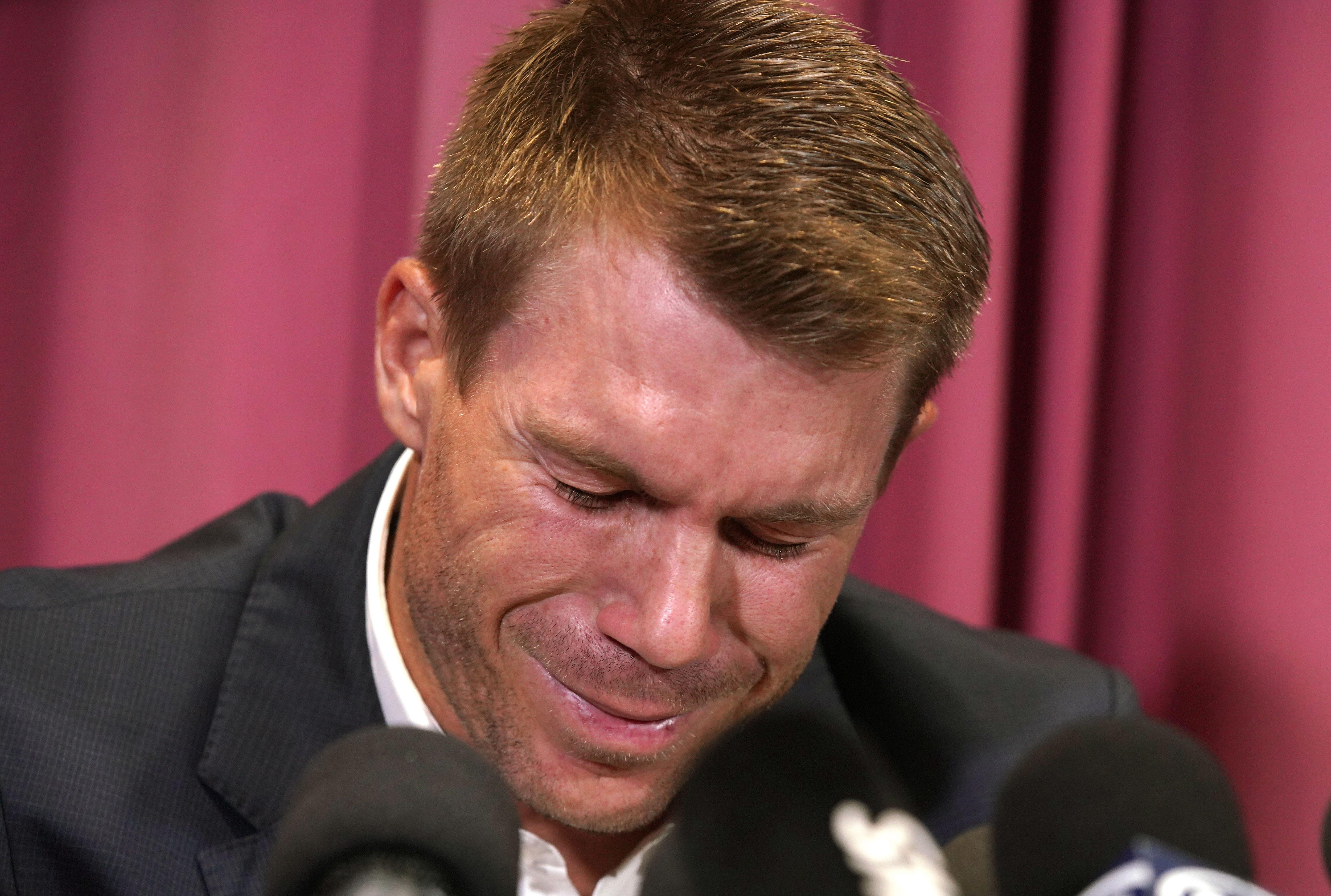 David Warner broke down in tears on his return to Australia having been sent home from South Africa in disgrace
