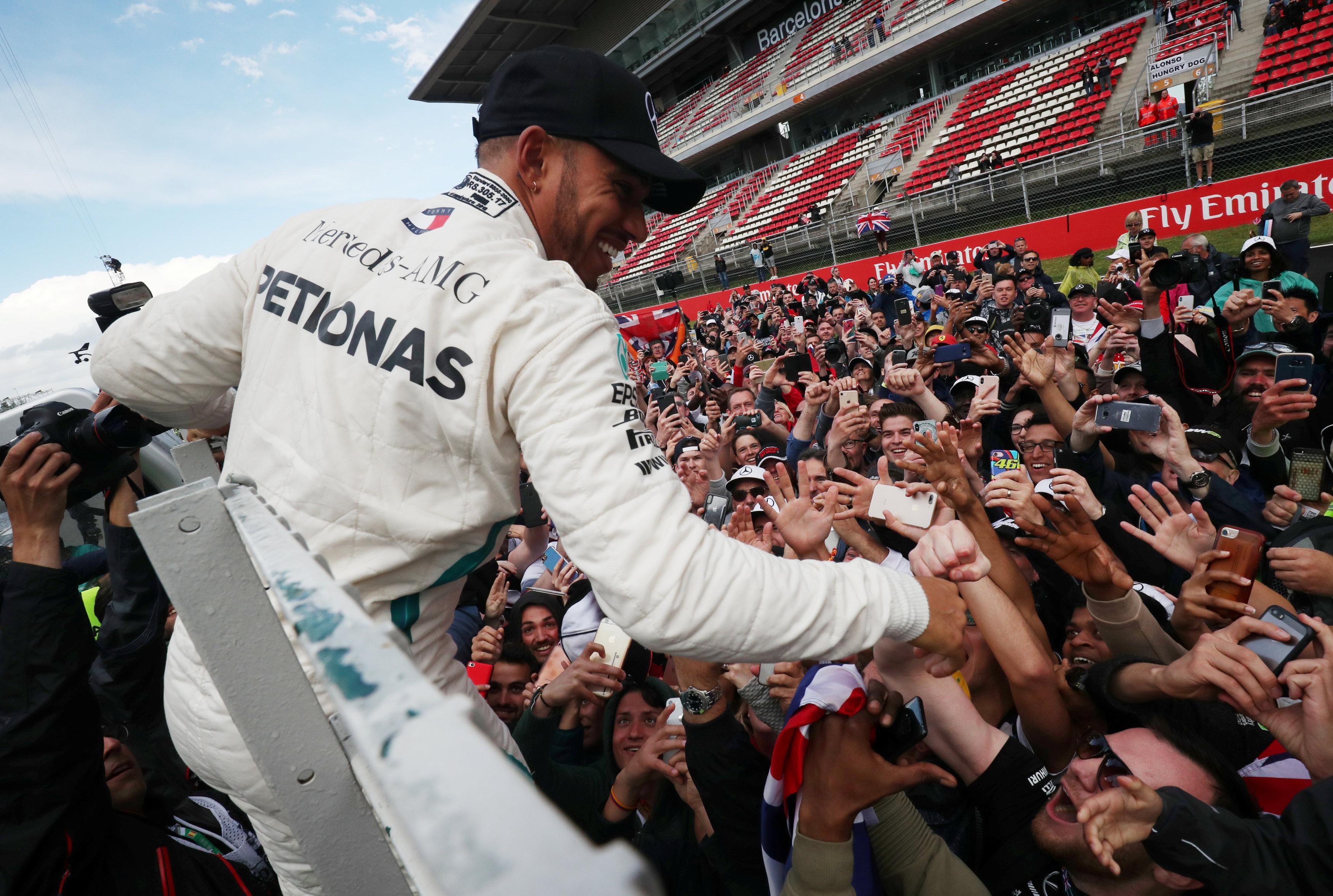 Lewis Hamilton celebrates Spanish GP win