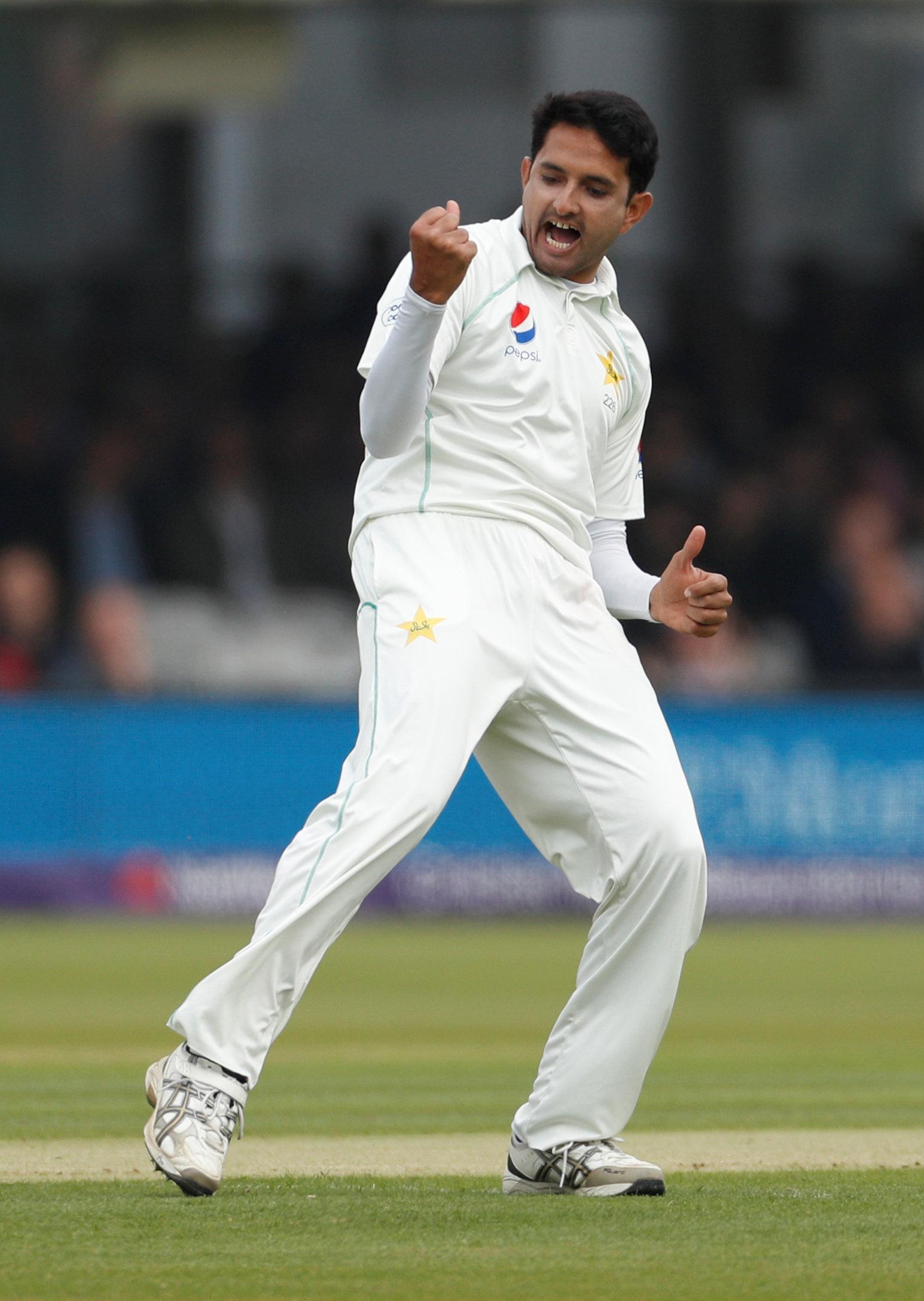 Pakistan's Mohammad Abbas celebrates taking the wicket of England's Mark Stoneman