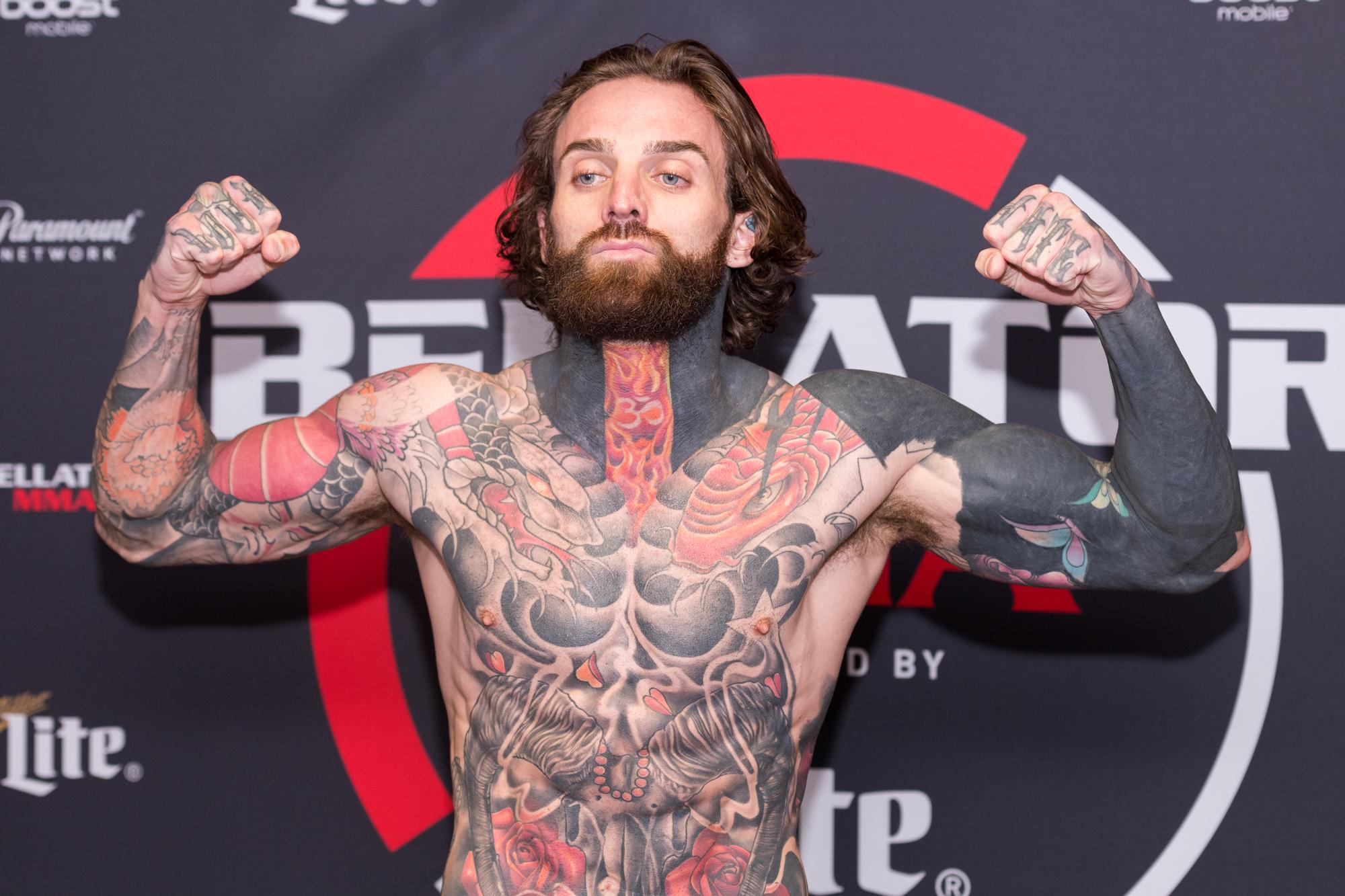 The former Geordie Shore star weighed in ahead of making his Bellator debut on Friday