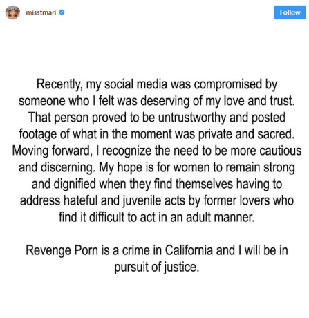 The hip-hop star said she was now looking for justice