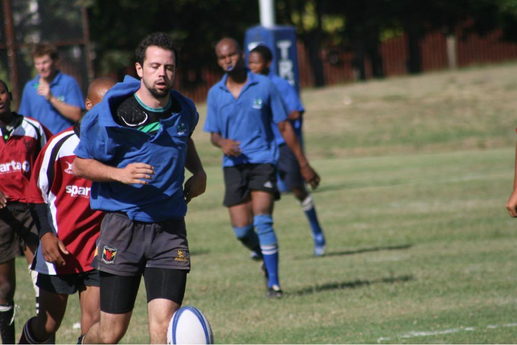 Dan Aylward training with Lesotho's national rugby team