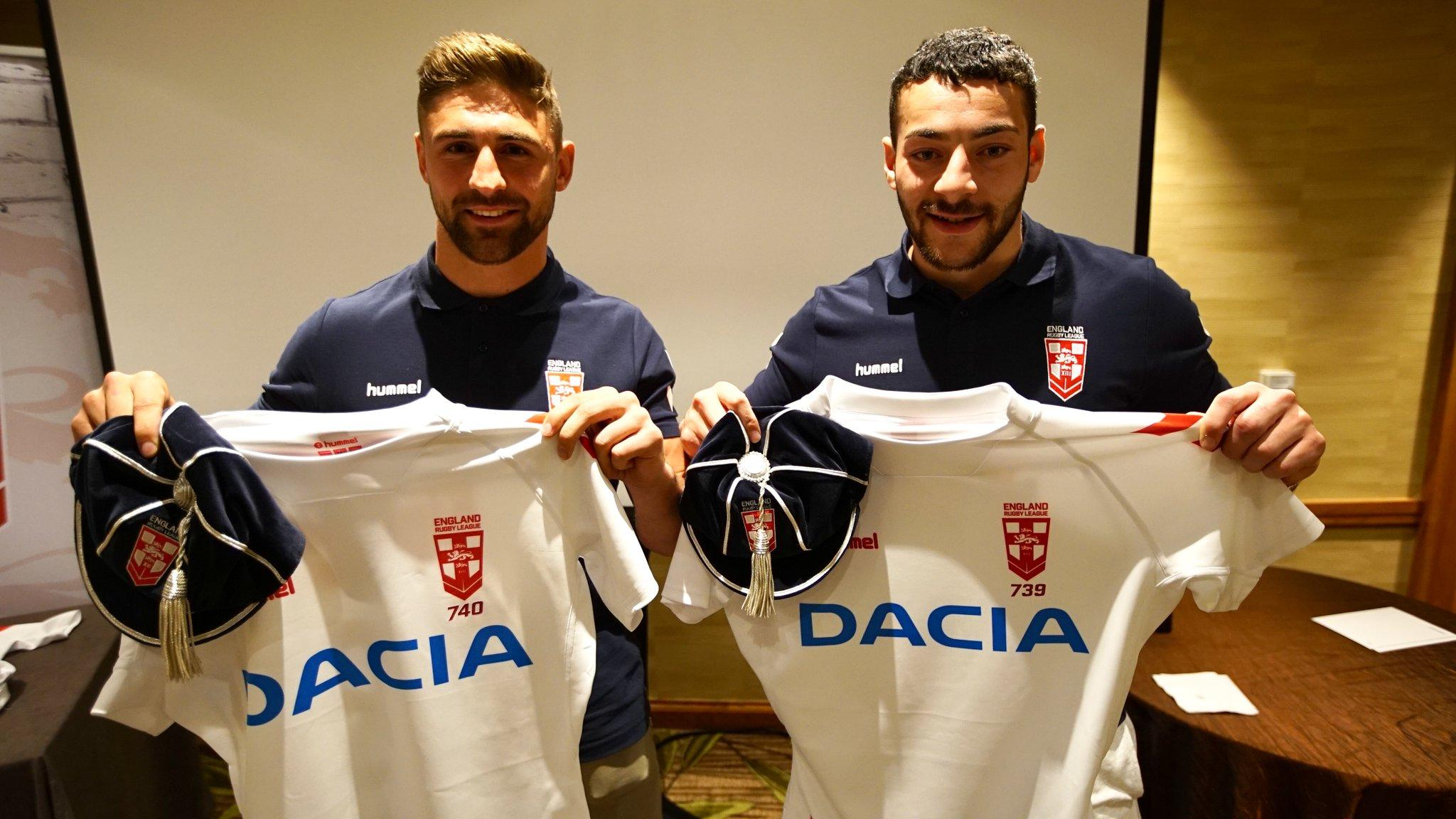 Jake Connor (right) and Tommy Makinson both scored tries on their England debut