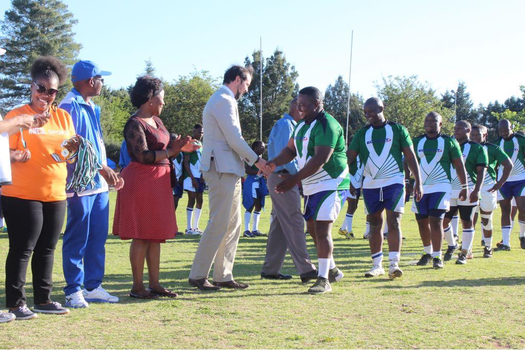Londoner Dan Aylward congratulating the Lesotho team after they beat Malawi