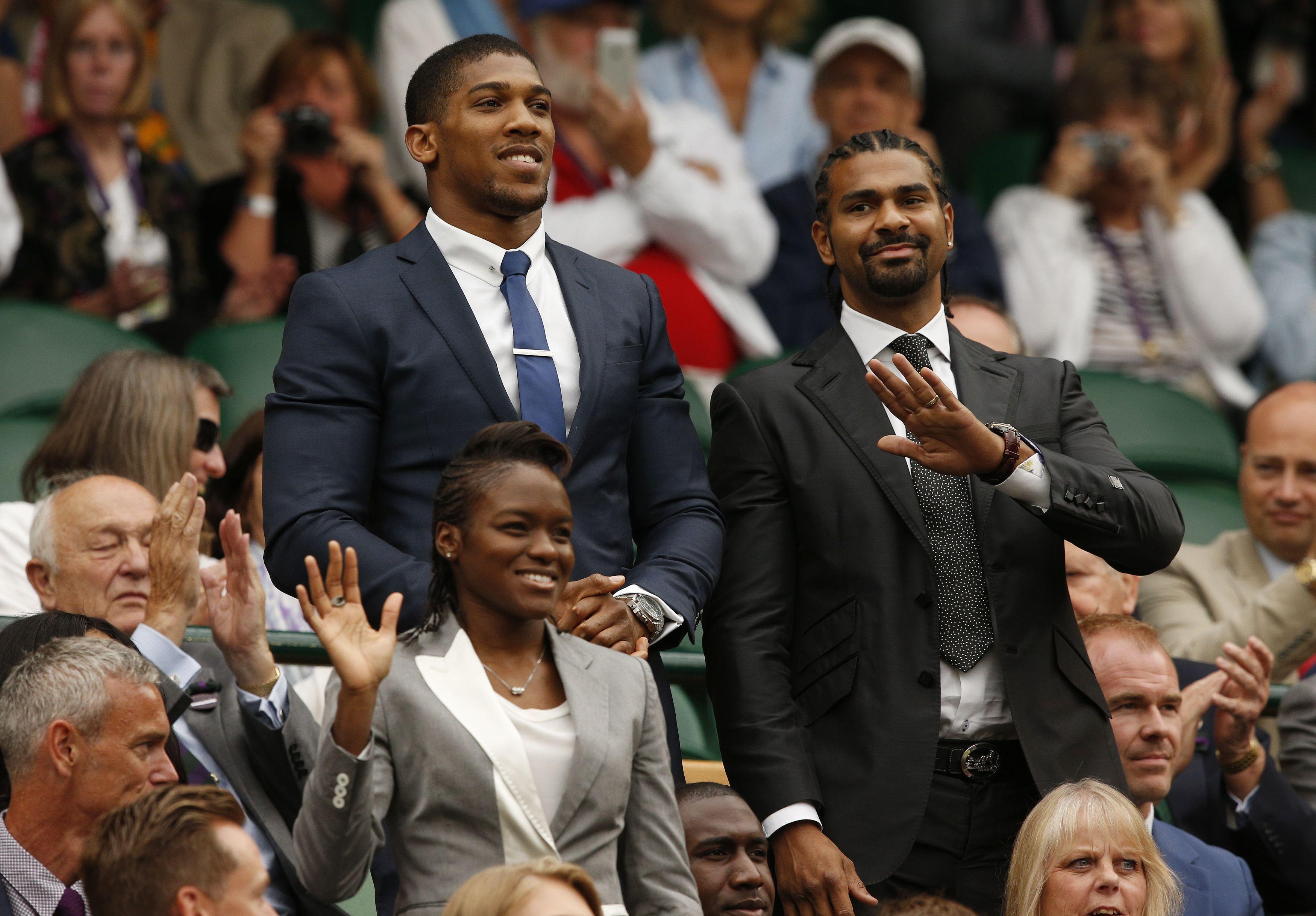 Haye with fellow British world heavyweight champion Anthony Joshua at Wimbledon