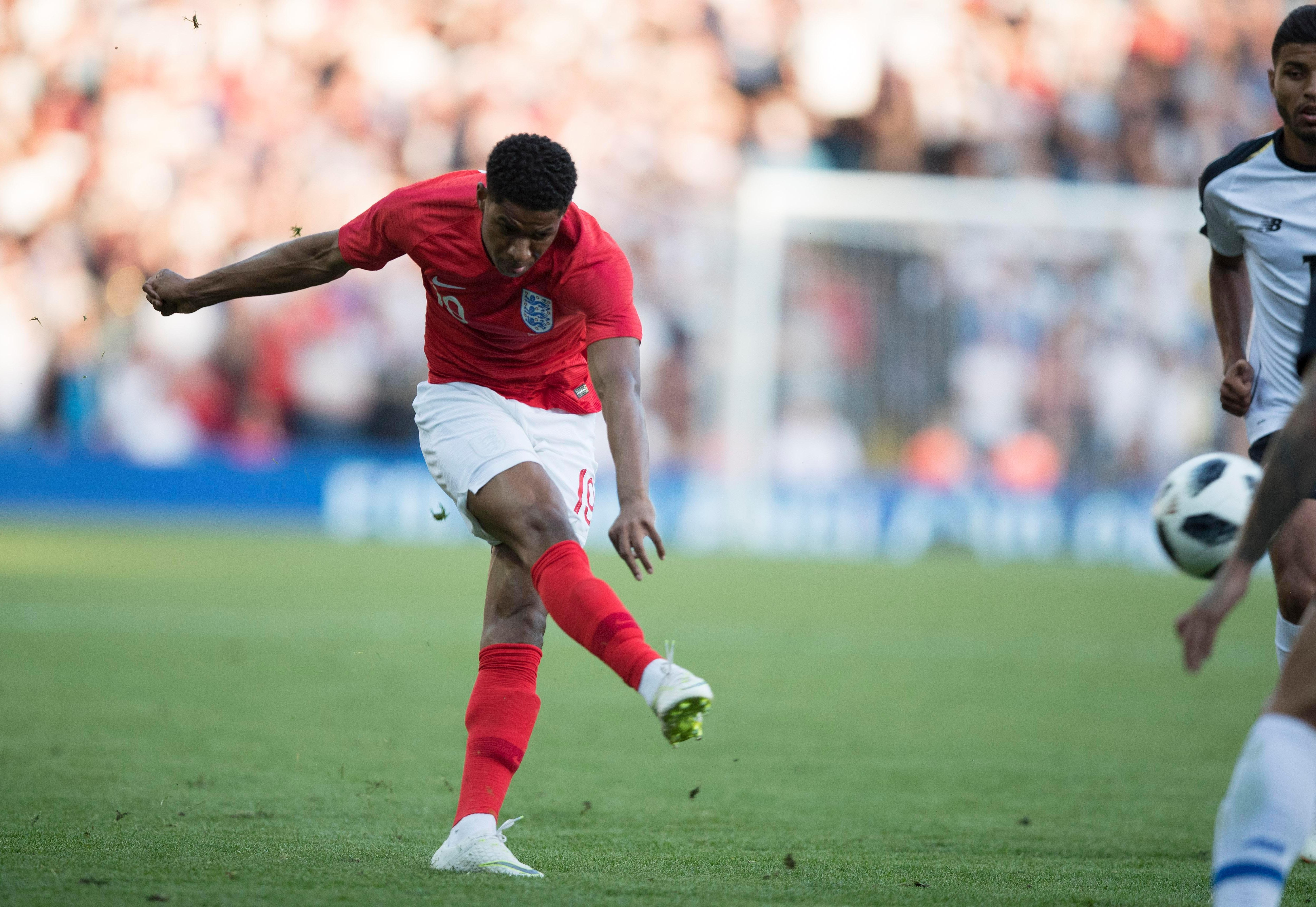Marcus Rashford lets fly as he opens the scoring for England with a brilliant early goal