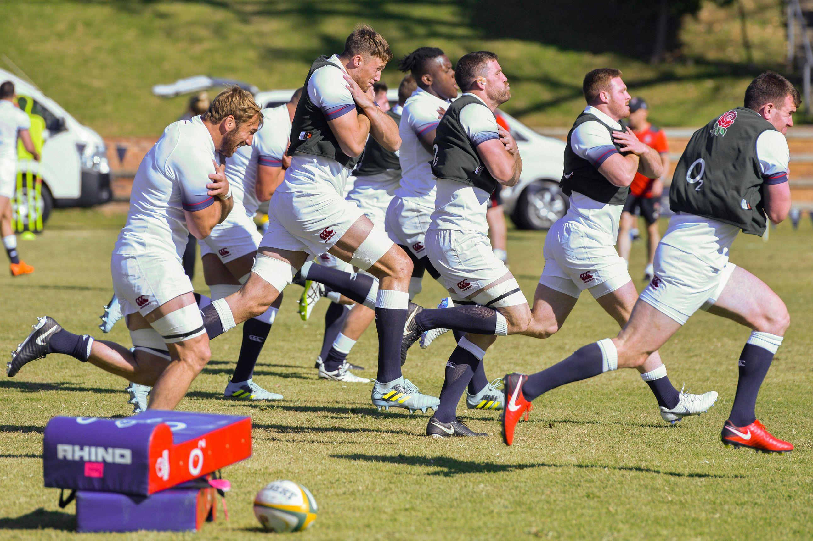 England are put through their paces at a training session at St Stithians College in Sandton, South Africa