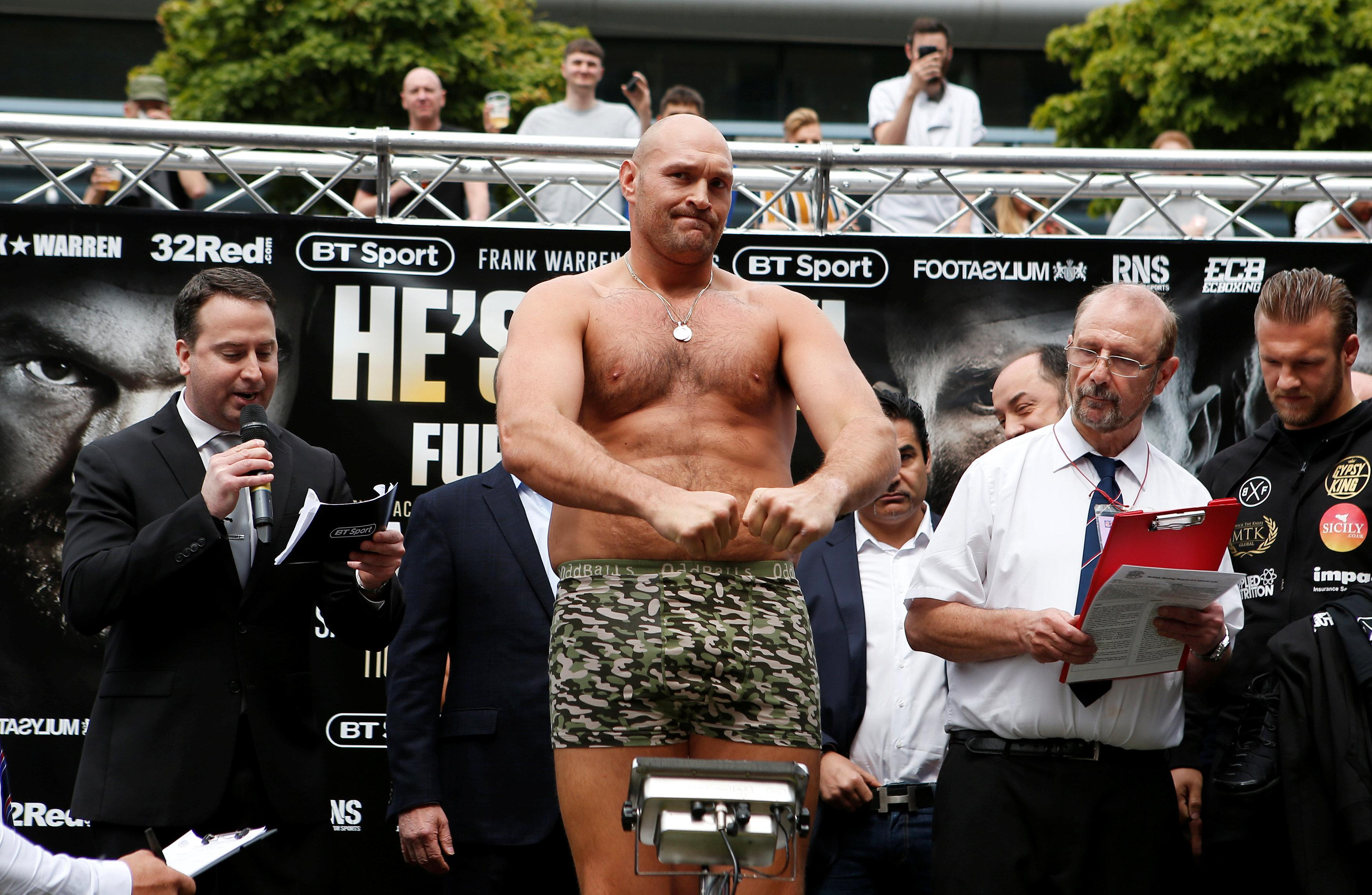 Tyson Fury is back, and looking lean and mean as he weighed in for his fight against Sefer Seferi