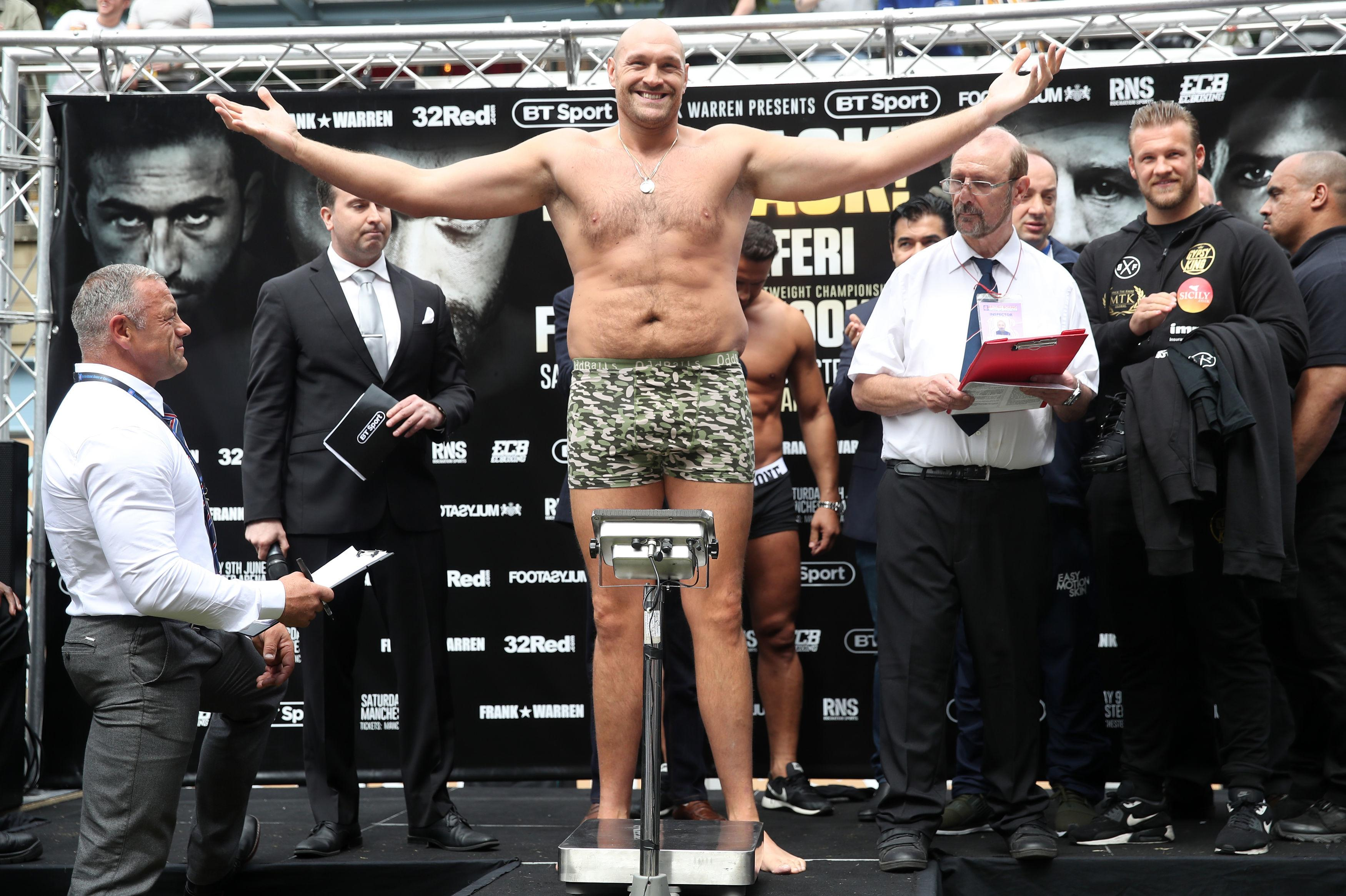 Frank Warren says Tyson Fury should have worn something over than the tight pants he chose for the weigh-in