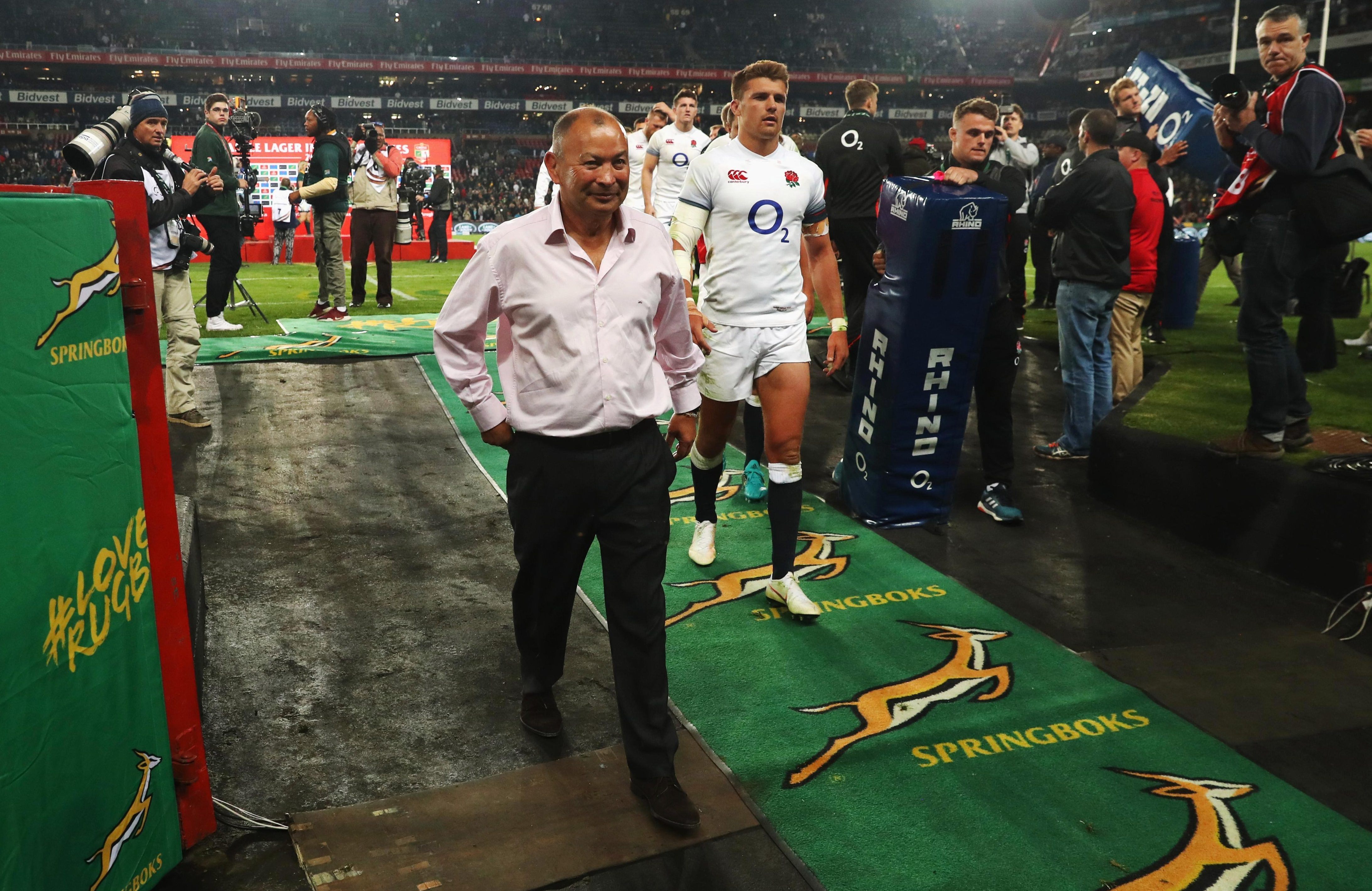 South Africa fans gave Eddie Jones some stick as he went down the tunnel