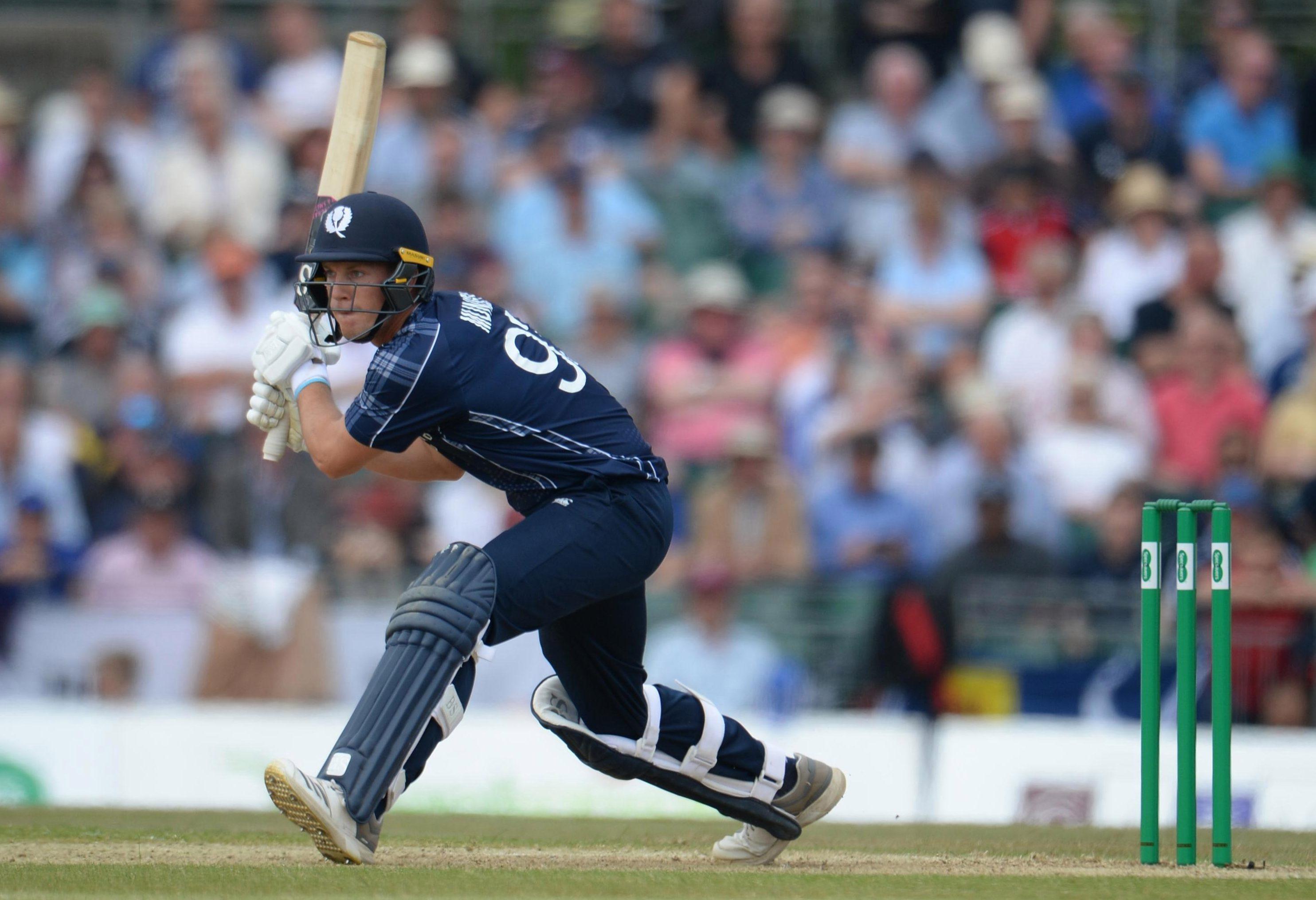 Scotland star George Munsey bats at the Grange cricket club ground