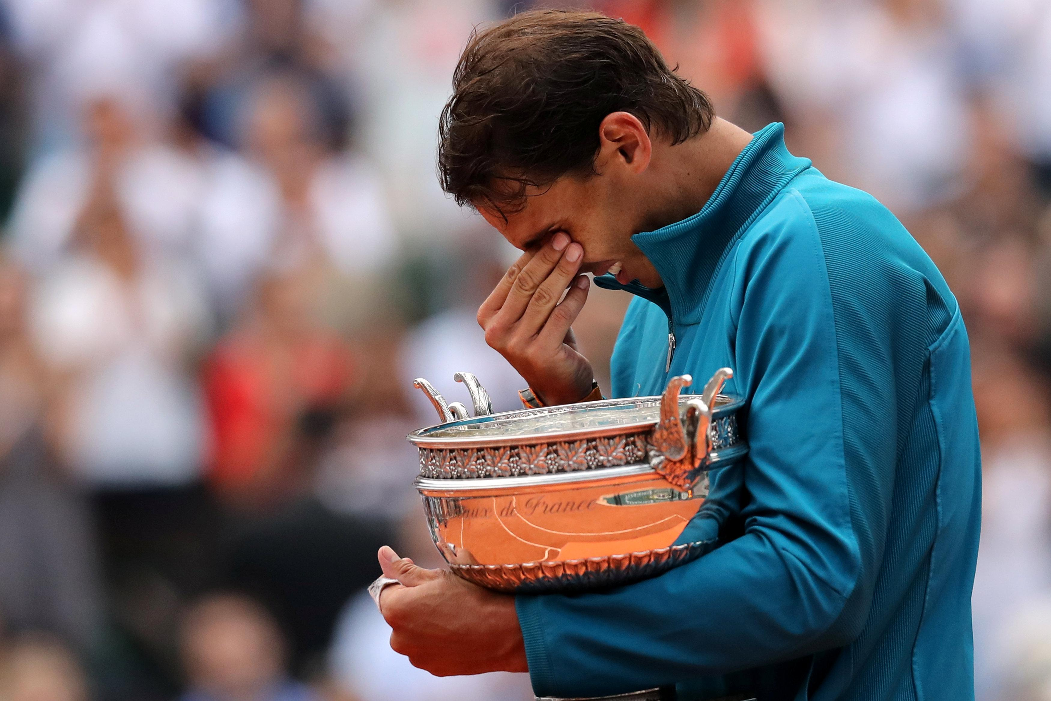 Nadal was overcome with emotion after winning his 11th French Open, which is his 17th Grand Slam title