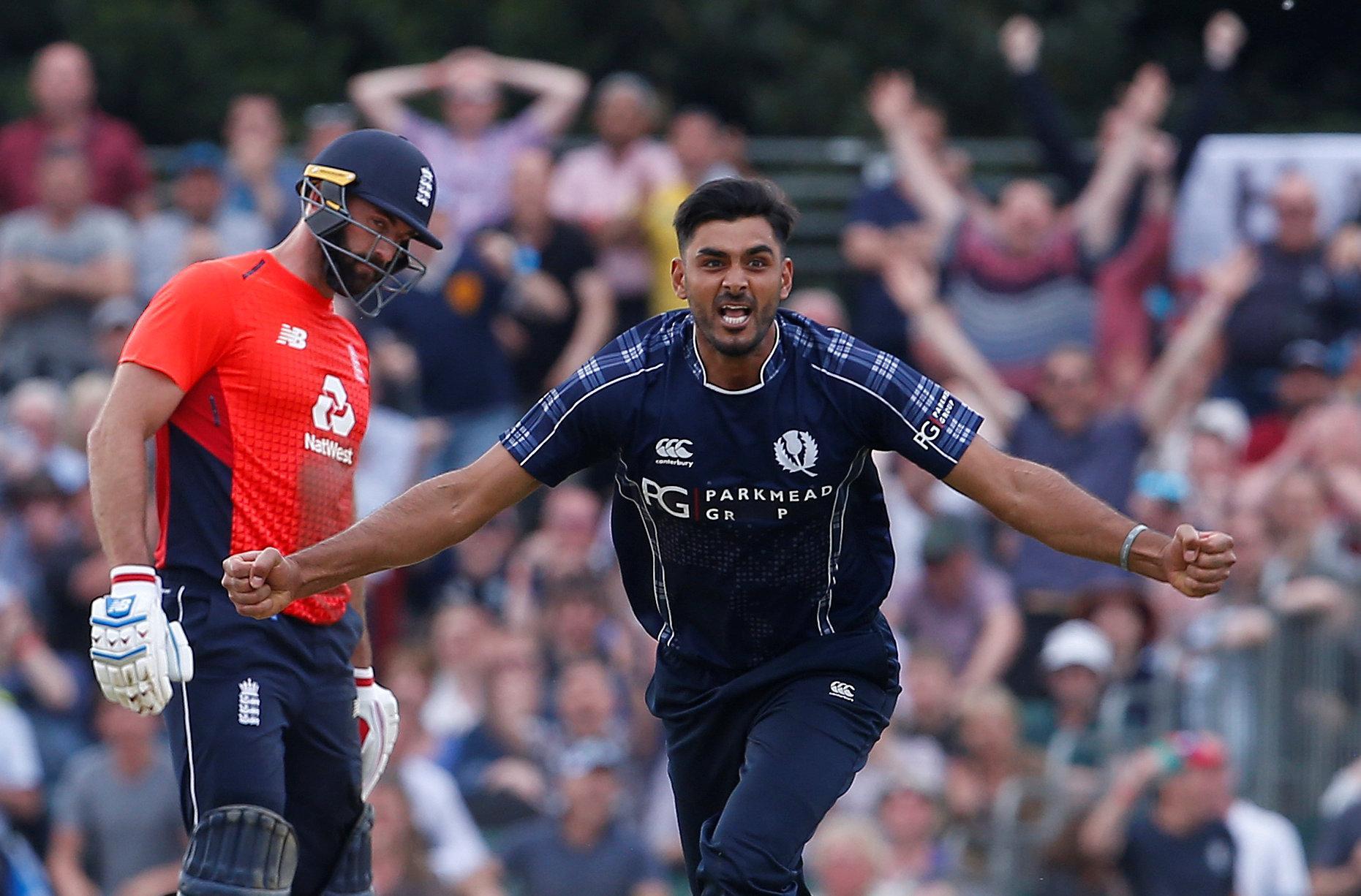 Safyaan Sharif celebrates winning the One Day International match