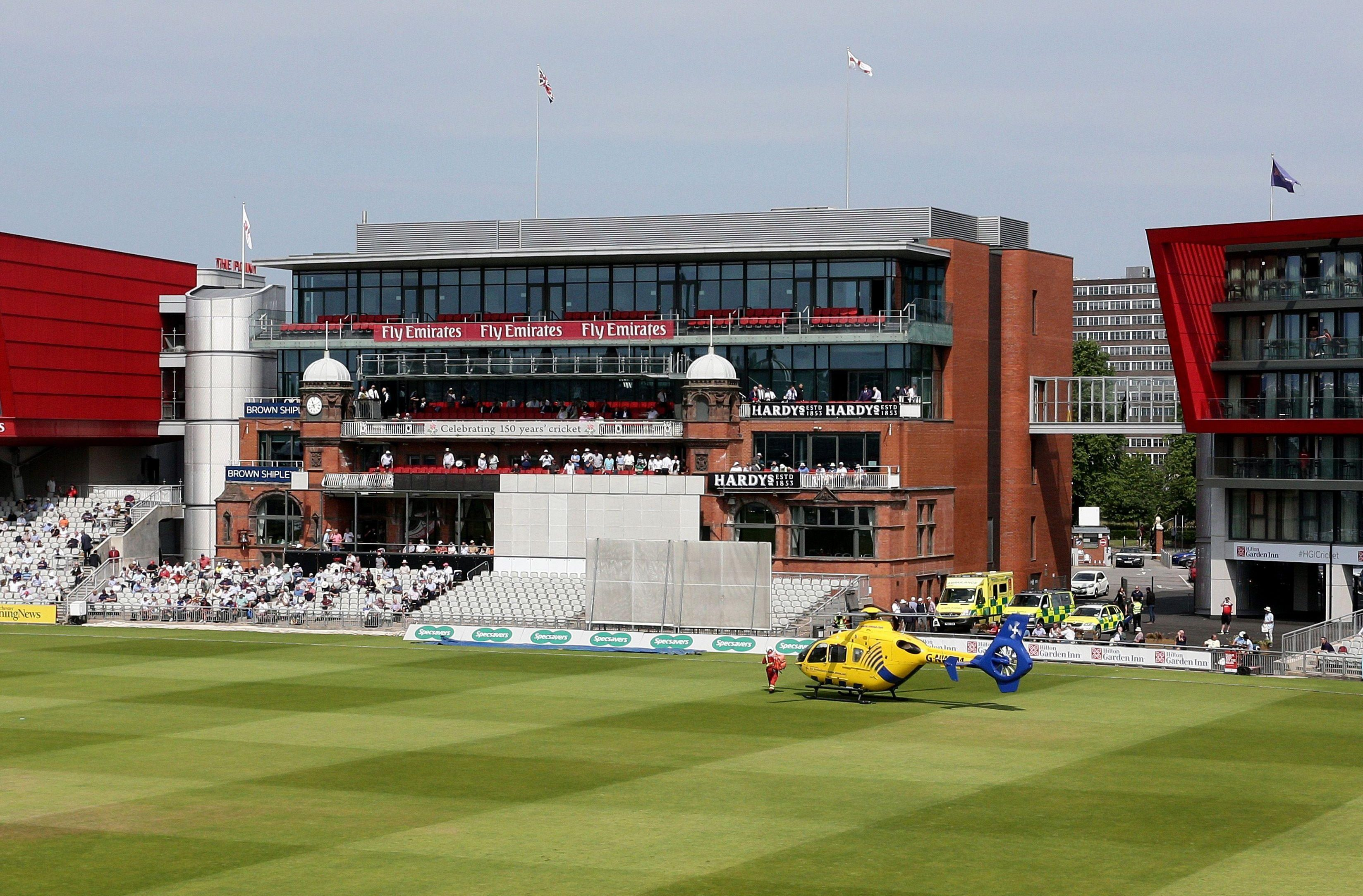 The air ambulance interrupted play at Old Trafford to tend to an emergency