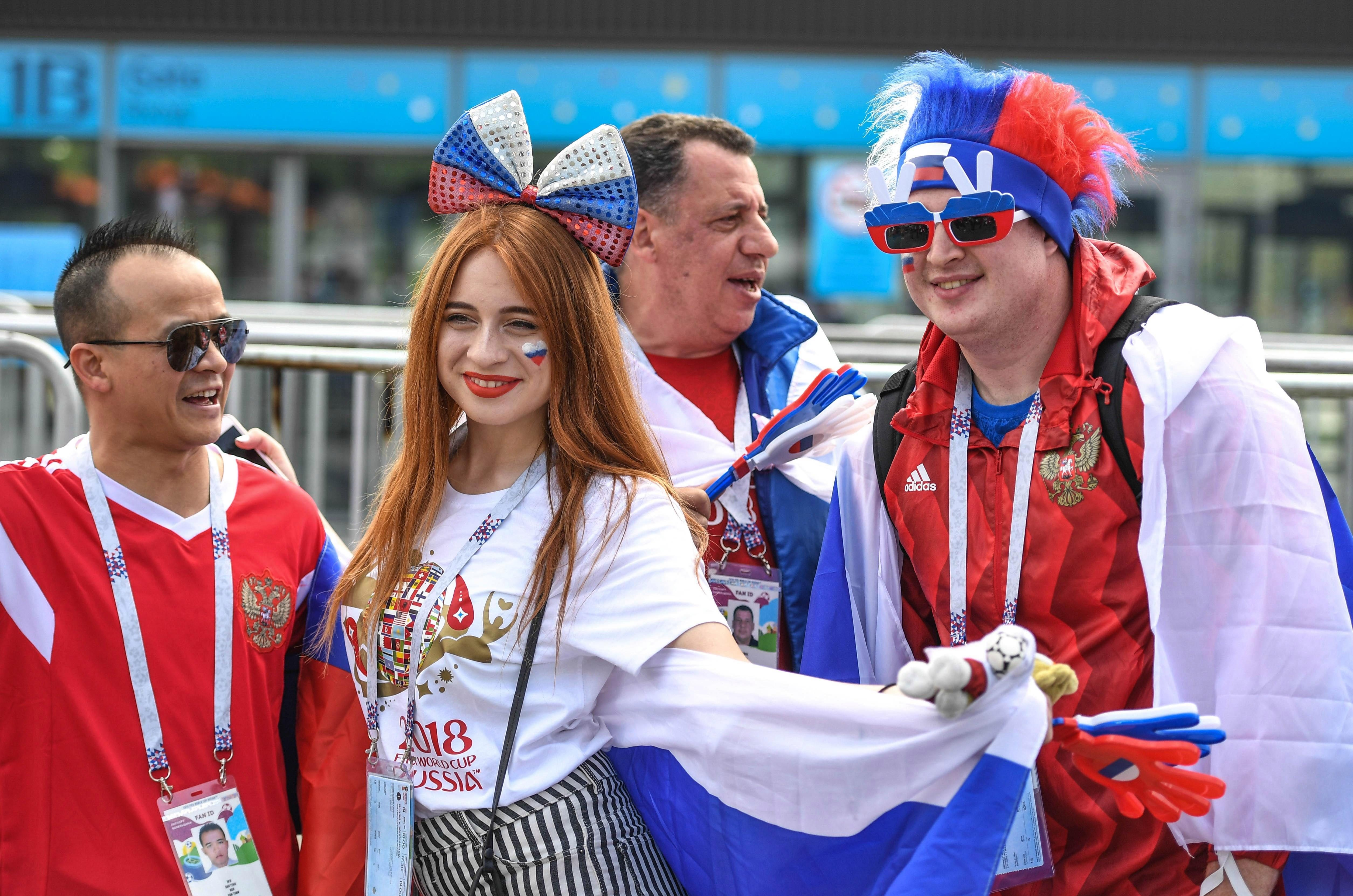Fans of the host nation got into the party spirit as the team prepared to take on Saudi Arabia