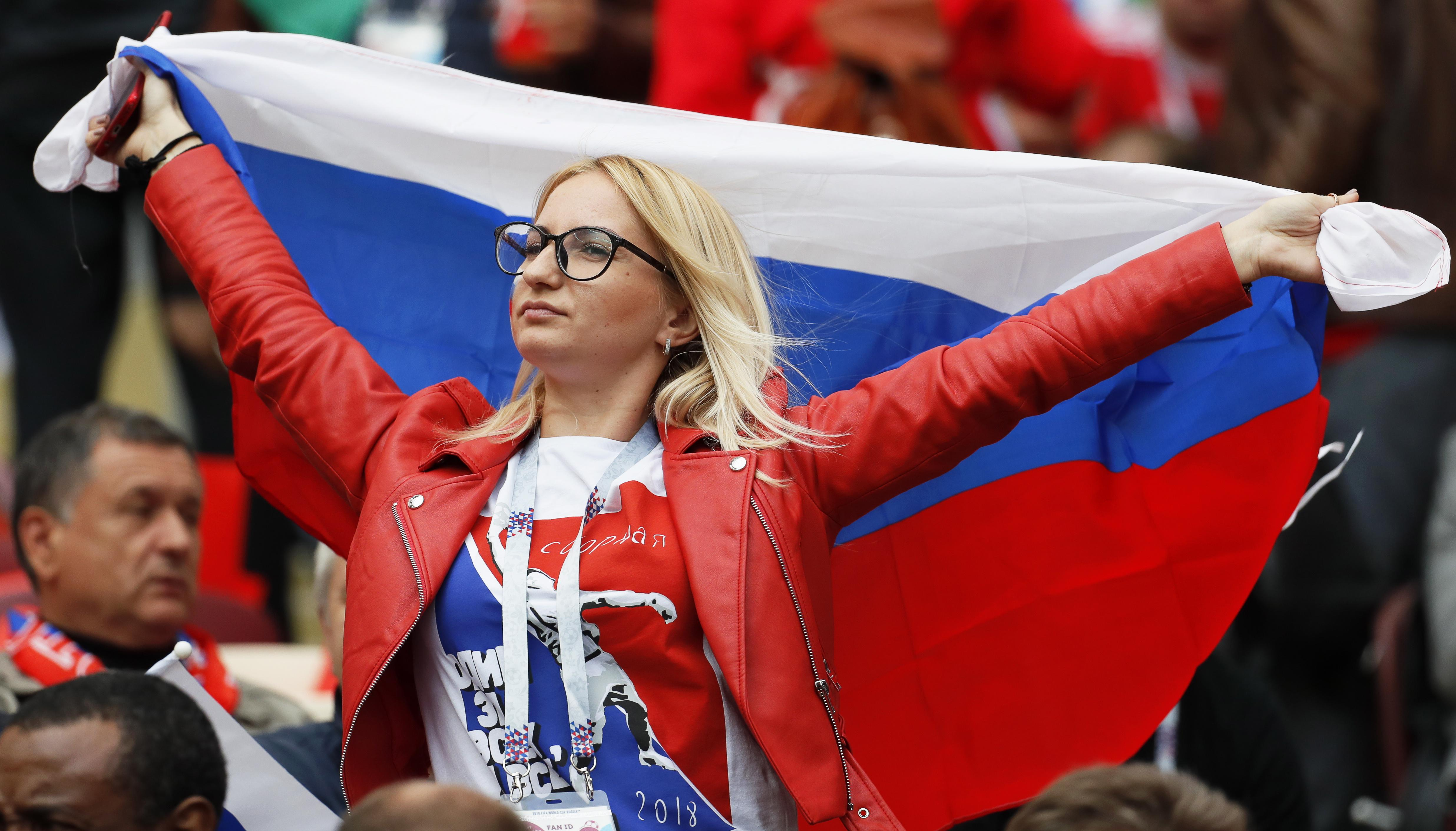A Russian fan flying the flag before kick-off on Thursday