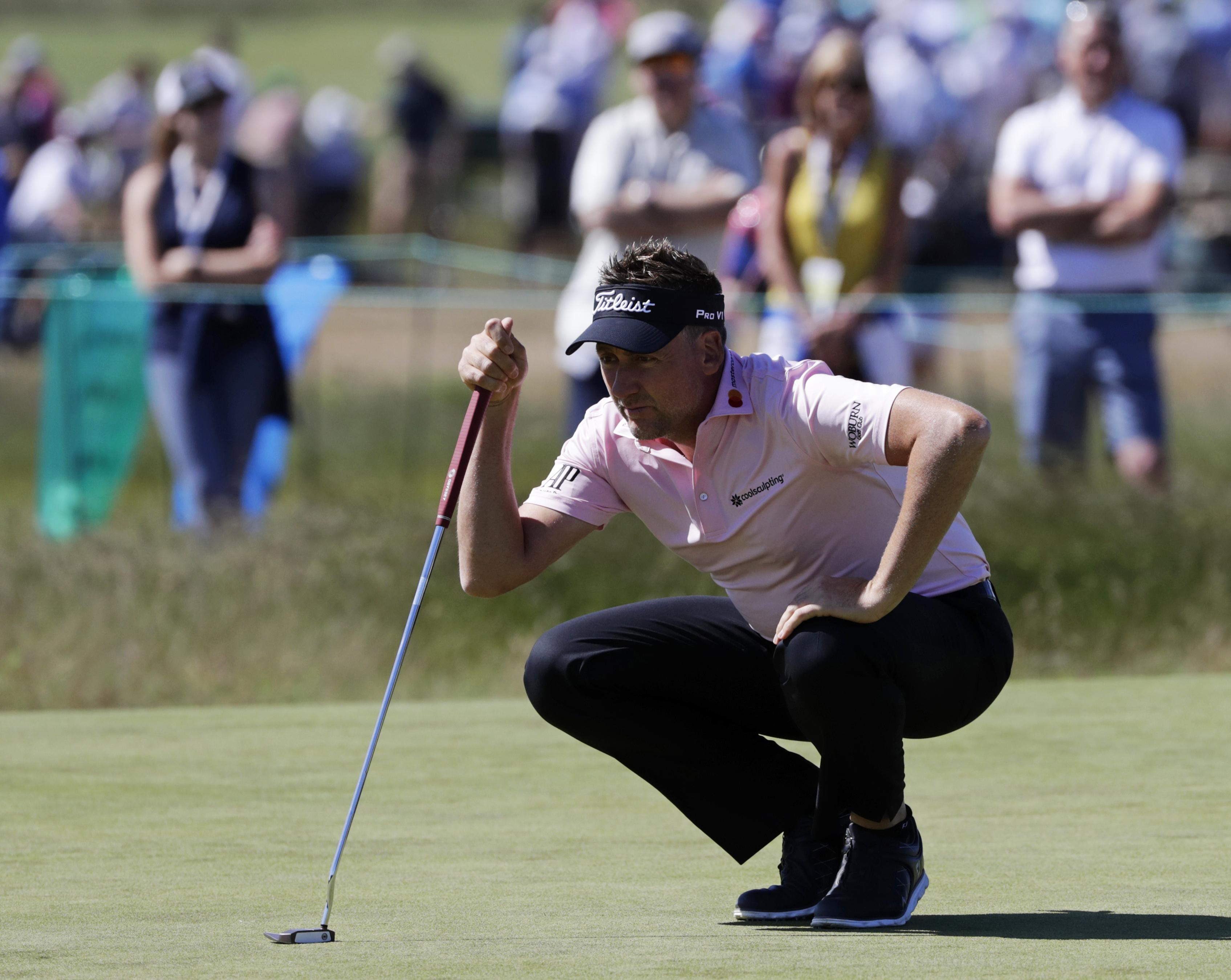 Ian Poulter finished his first round of the US Open with a share of the lead