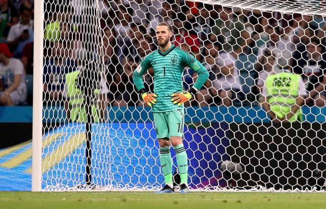 David De Gea is clearly disappointed after his mistake against Portugal