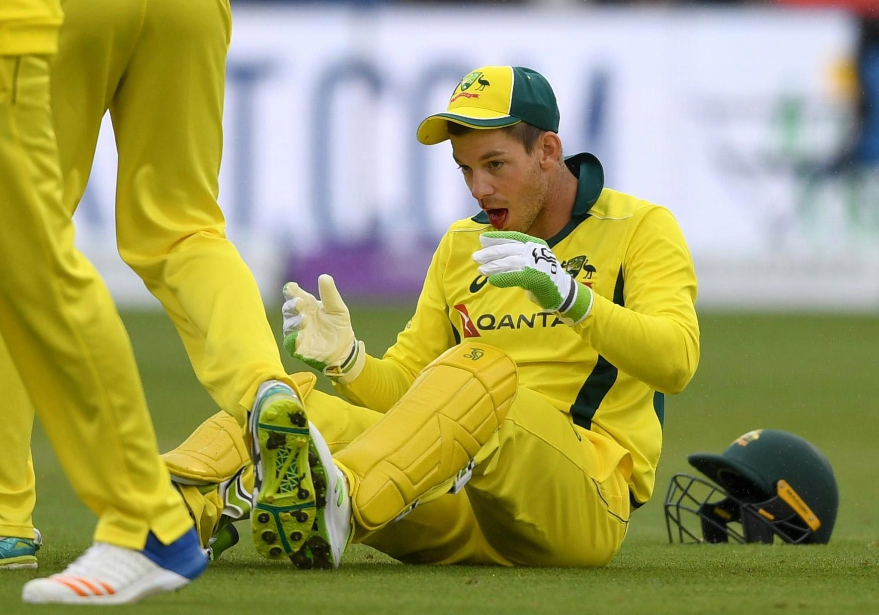 Tim Paine looked understandably dazed after being hit in the face