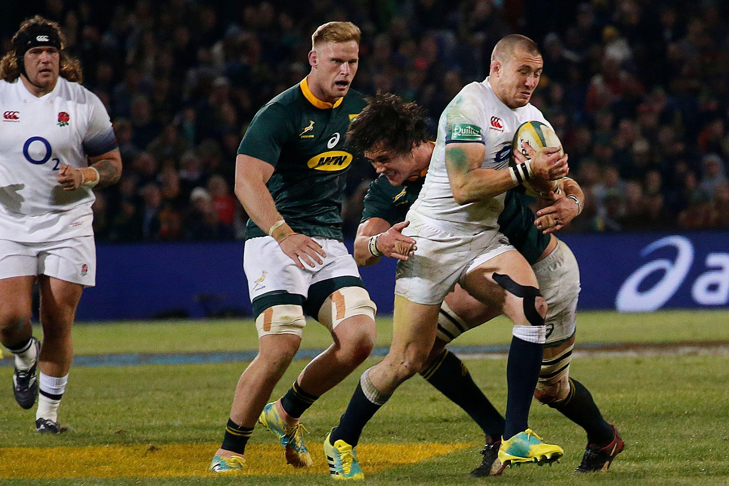 Mike Brown scored against the Springboks - but England threw away a 12 point lead as they sunk in Bloemfontein