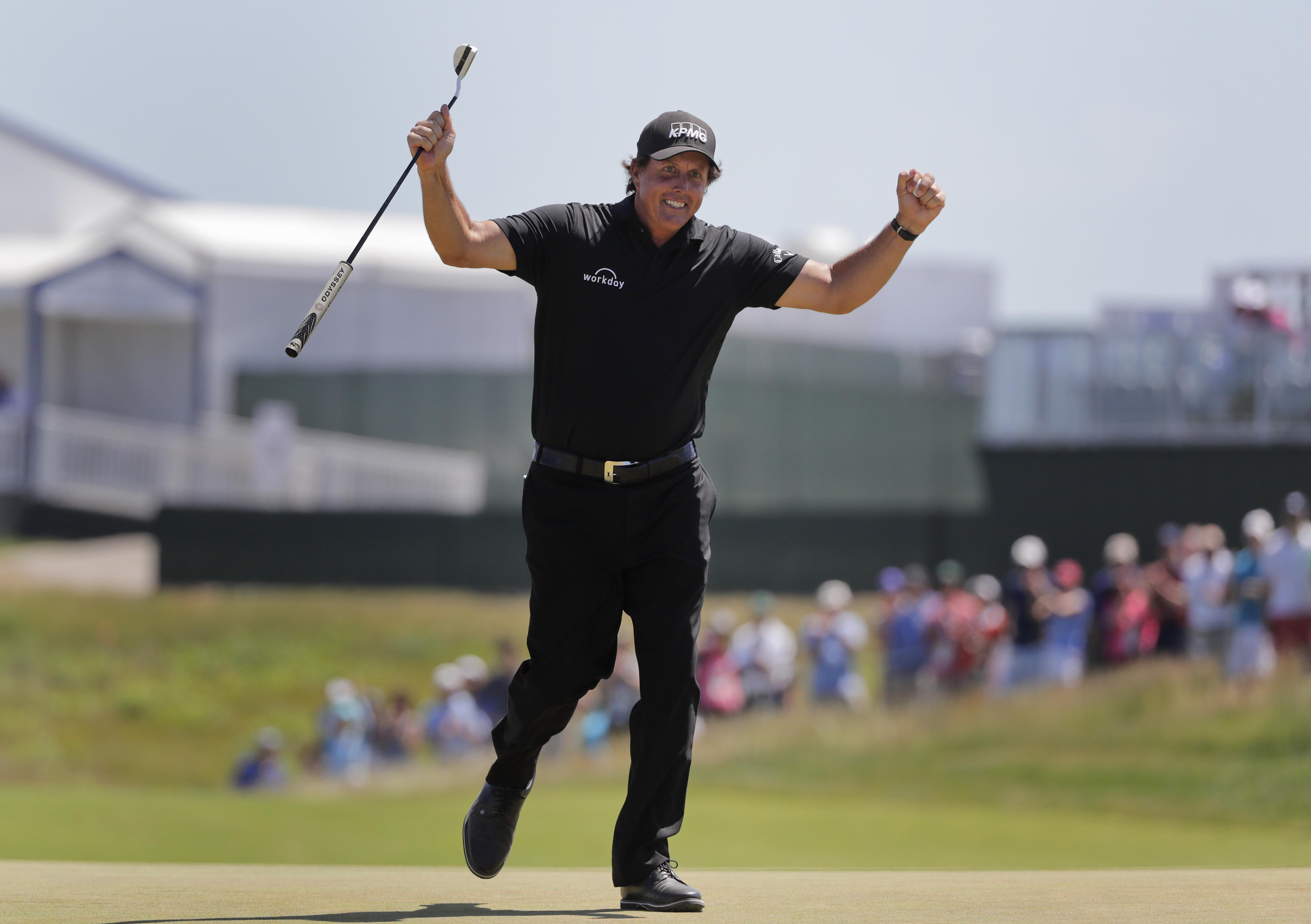 Mickelson then had the cheek to celebrate his par on the same hole the following day