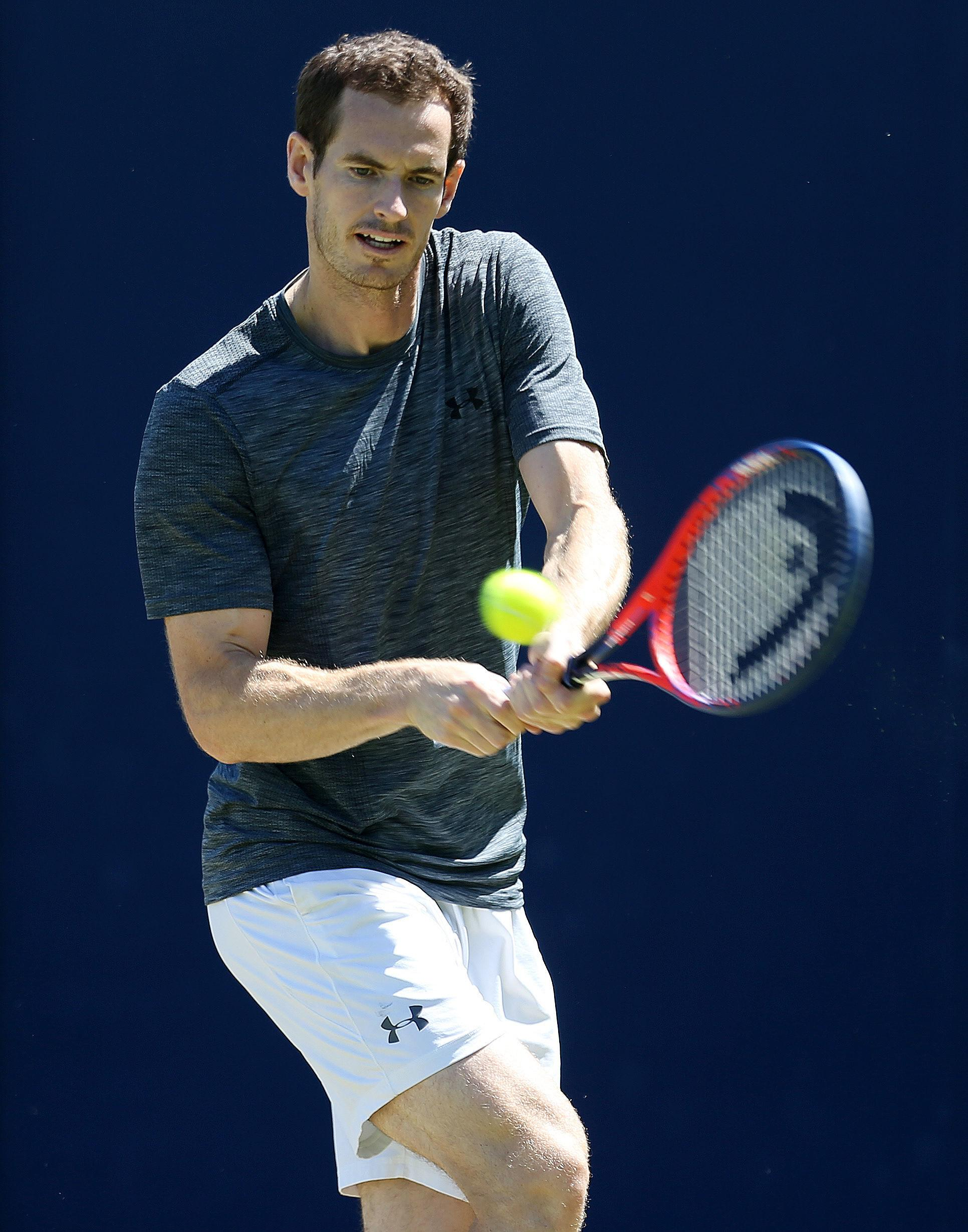 Andy Murray was warming-up his ground strokes ahead of the grass-court season